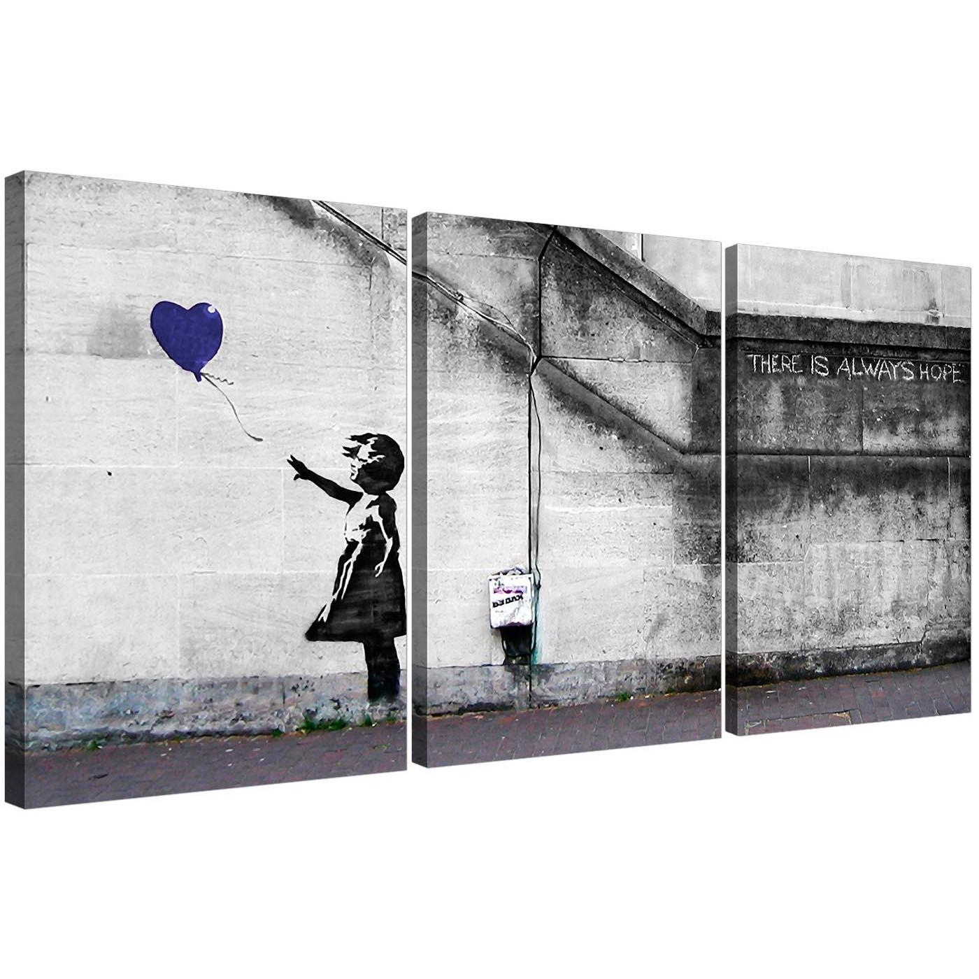 Banksy Balloon Girl Canvas Wall Art Set Of Three For Your Boys Bedroom For Banksy Wall Art Canvas (View 11 of 20)