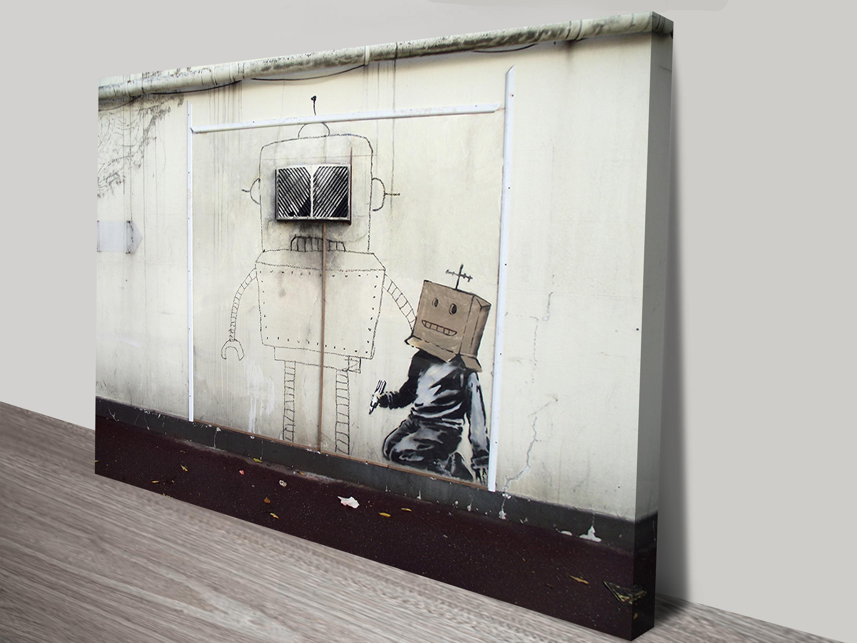 Banksy Canvas Art Torquay Robot Print Regarding Banksy Canvas Wall Art (Image 4 of 20)