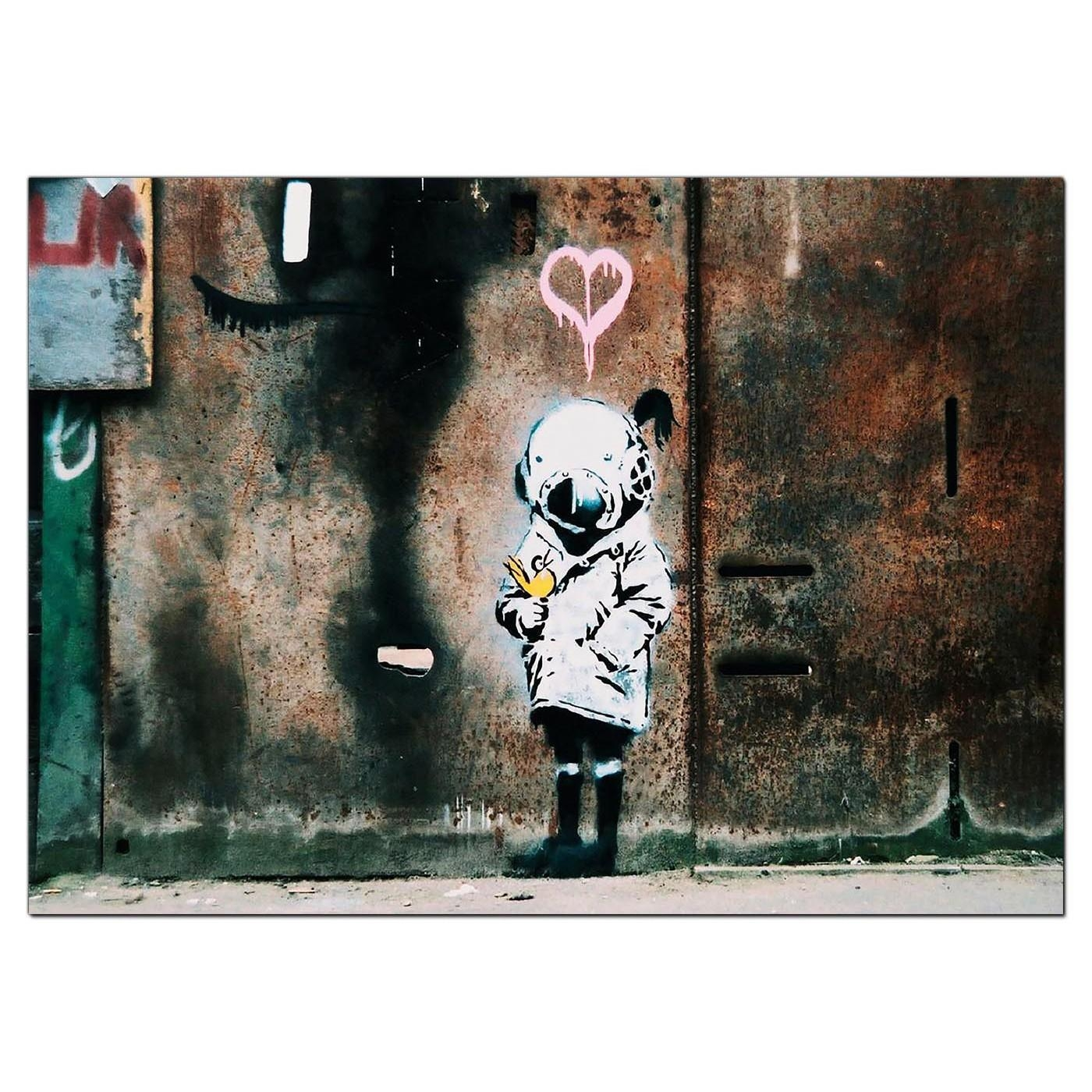 Banksy Canvas Prints – Girl And A Bird Throughout Banksy Canvas Wall Art (Image 5 of 20)
