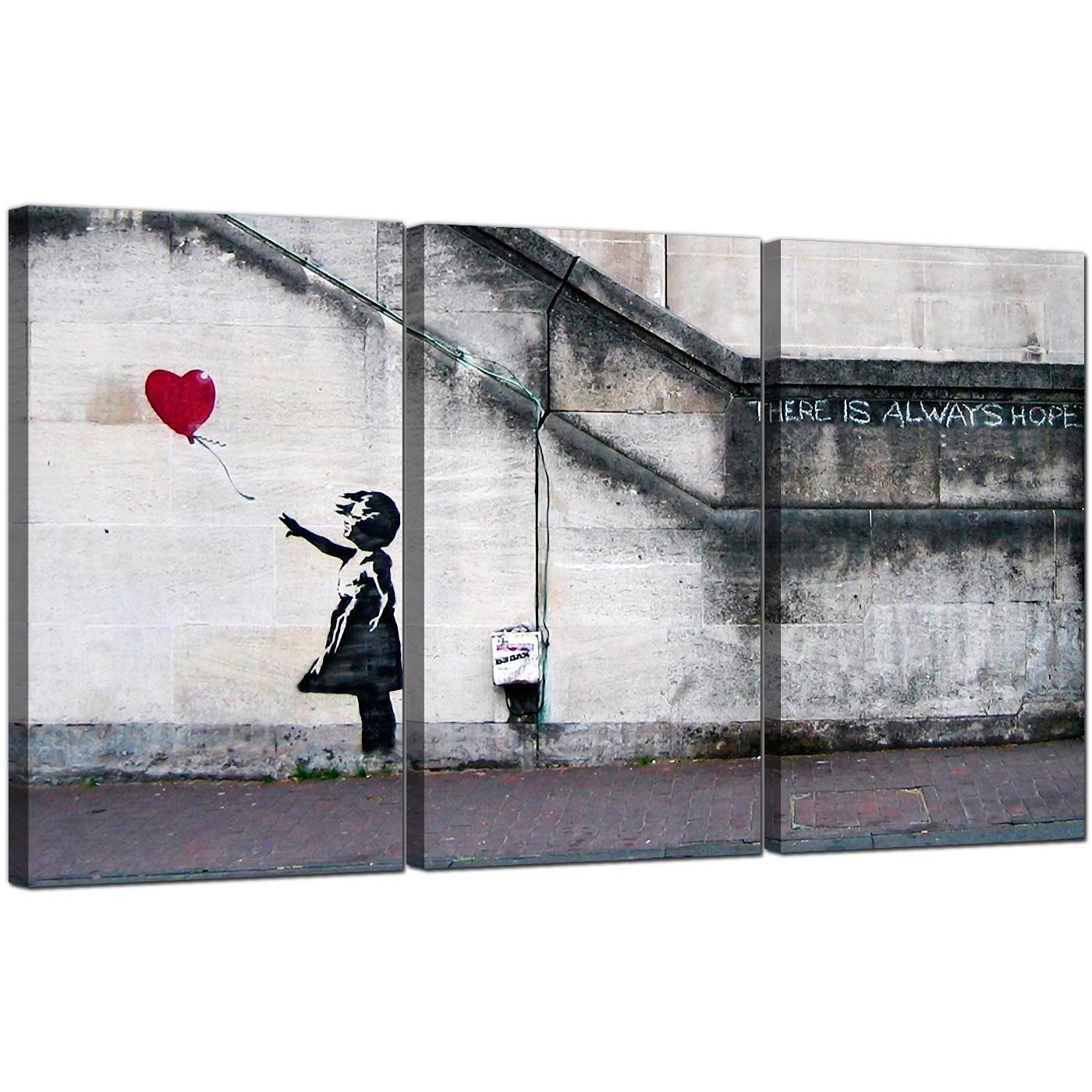 Banksy Canvas Prints – Girl With A Red Balloon For Banksy Canvas Wall Art (View 2 of 20)