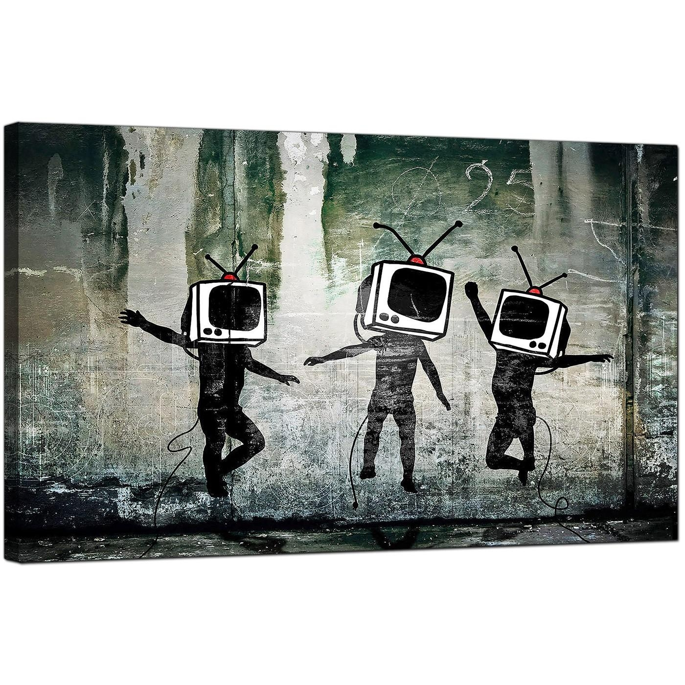Banksy Canvas Prints – Tv Heads With Regard To Banksy Wall Art Canvas (Image 8 of 20)