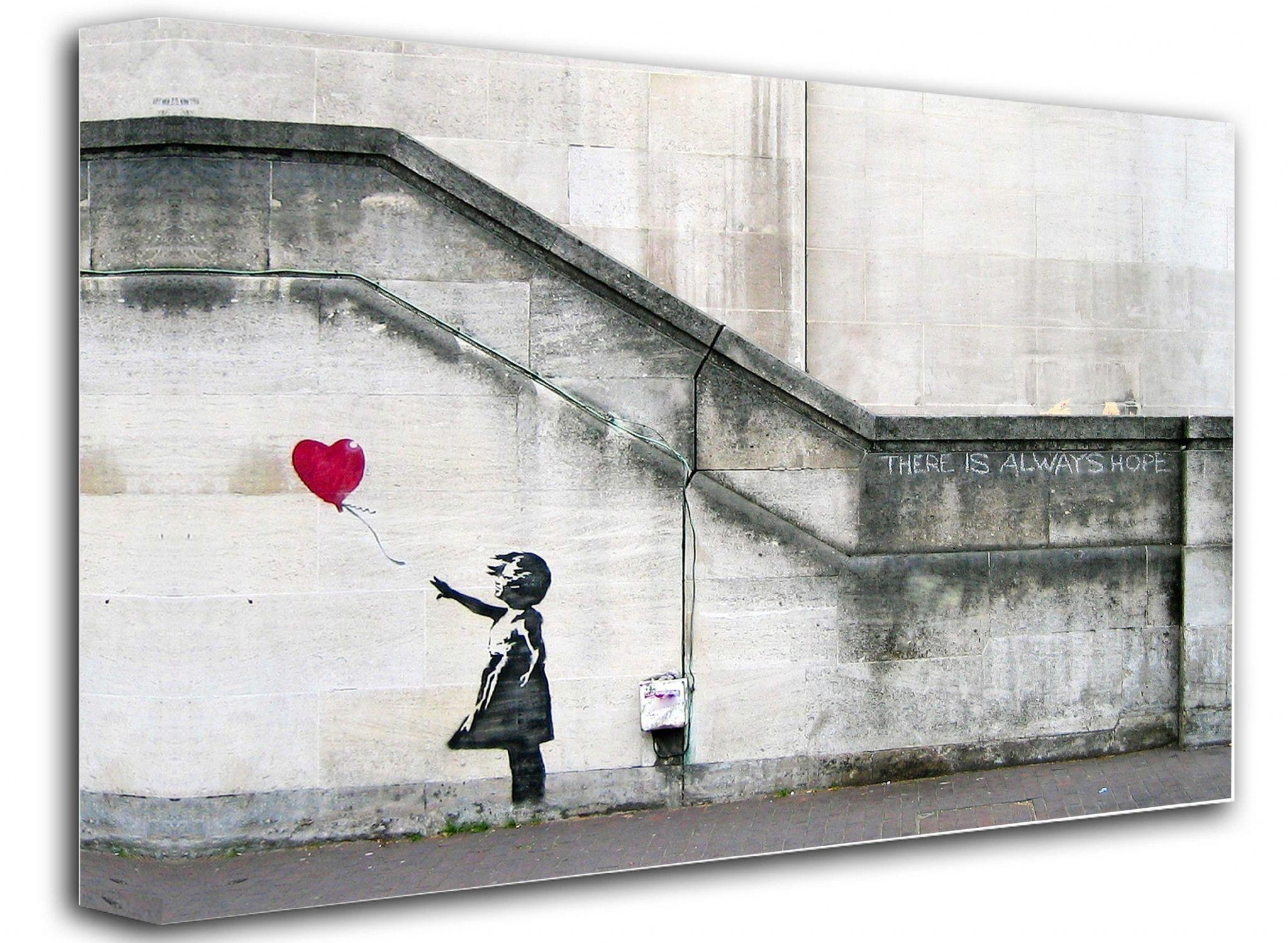 Banksy Canvas Wall Art Balloon Girl Inside Banksy Canvas Wall Art (Image 12 of 20)