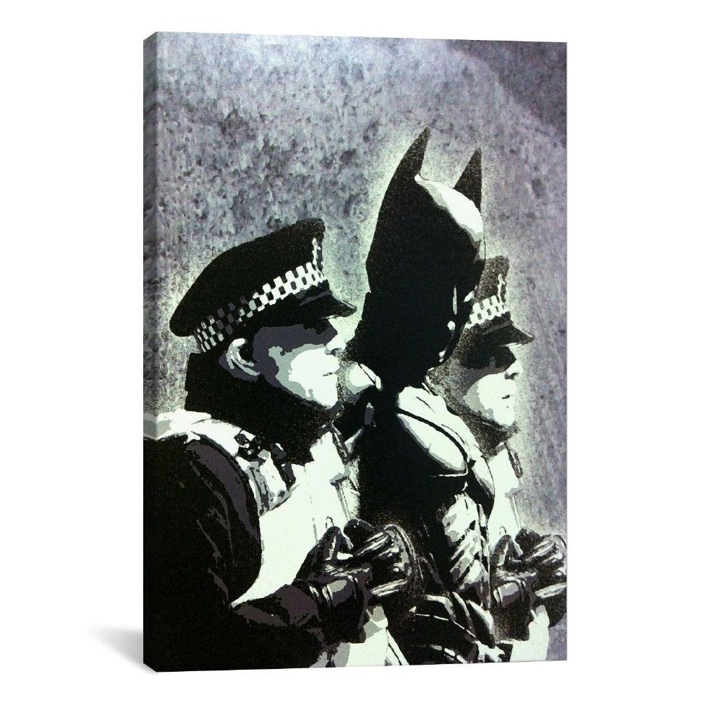 Banksy Canvas Wall Art Batman With Banksy Canvas Wall Art (Image 13 of 20)
