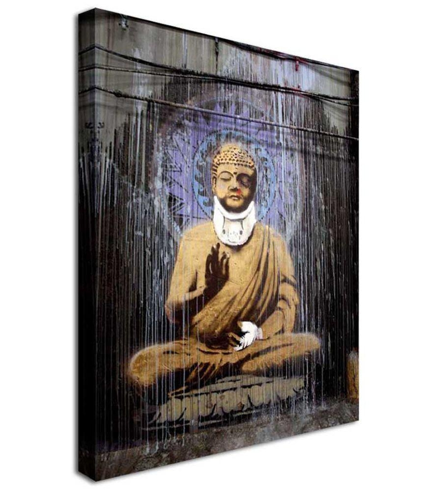 Banksy Canvas Wall Art Bruised Budha Regarding Banksy Canvas Wall Art (Image 14 of 20)