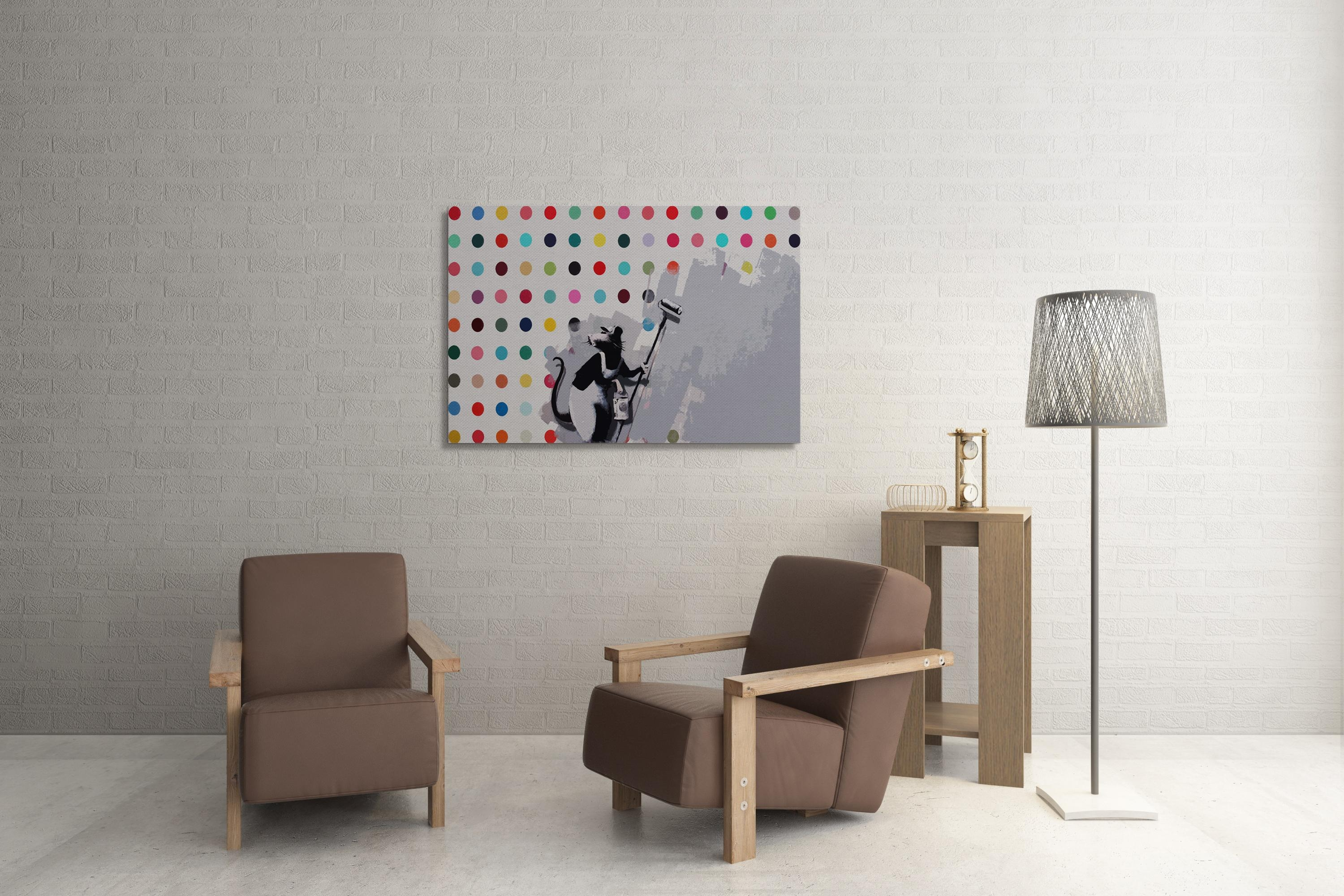 Banksy Dots Rat Canvas Wall Art Intended For Banksy Wall Art Canvas (View 17 of 20)