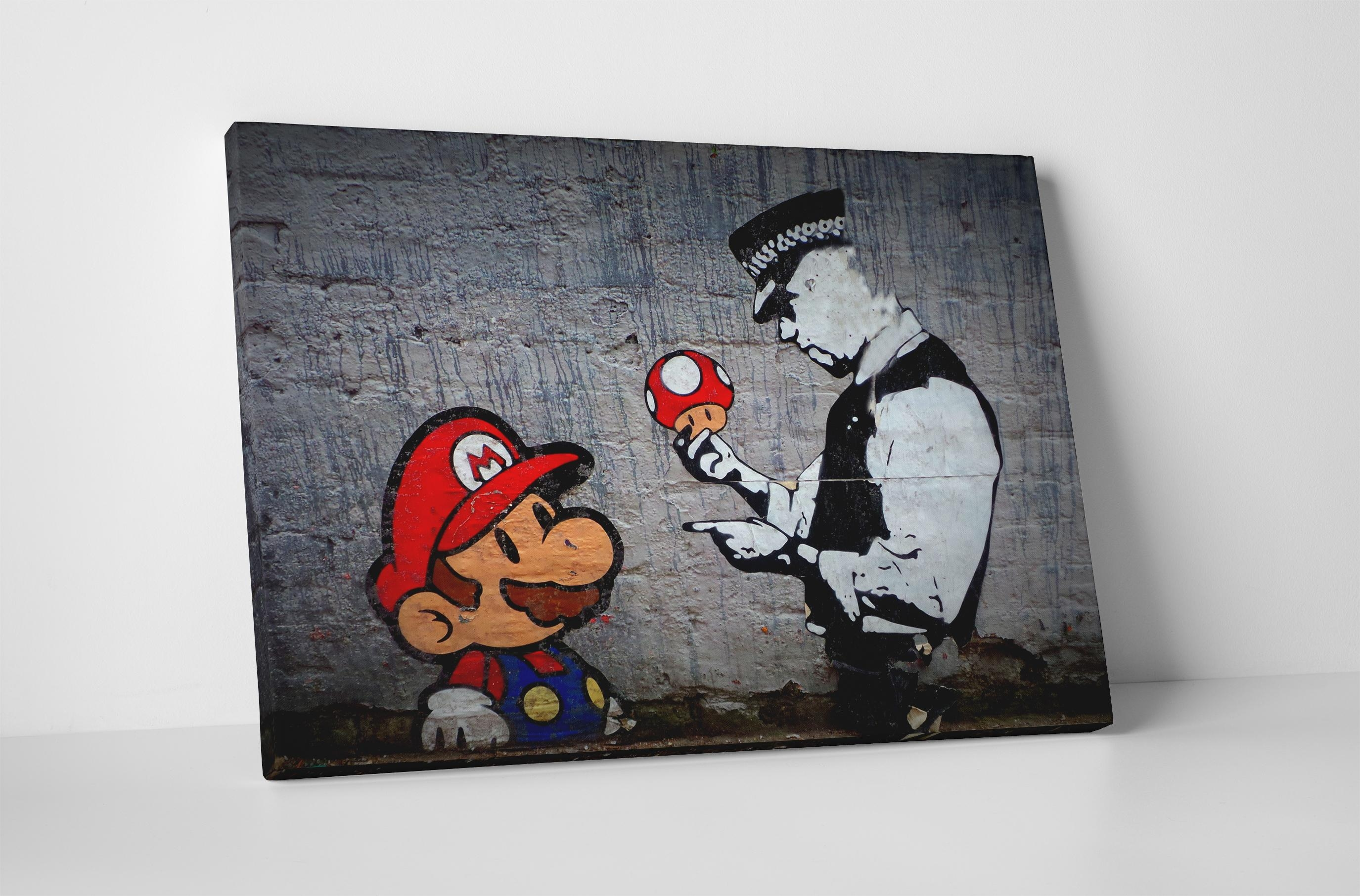 Banksy Mario Bros Mushroom Stretched Canvas Wall Art Throughout Mushroom Wall Art (Image 5 of 20)
