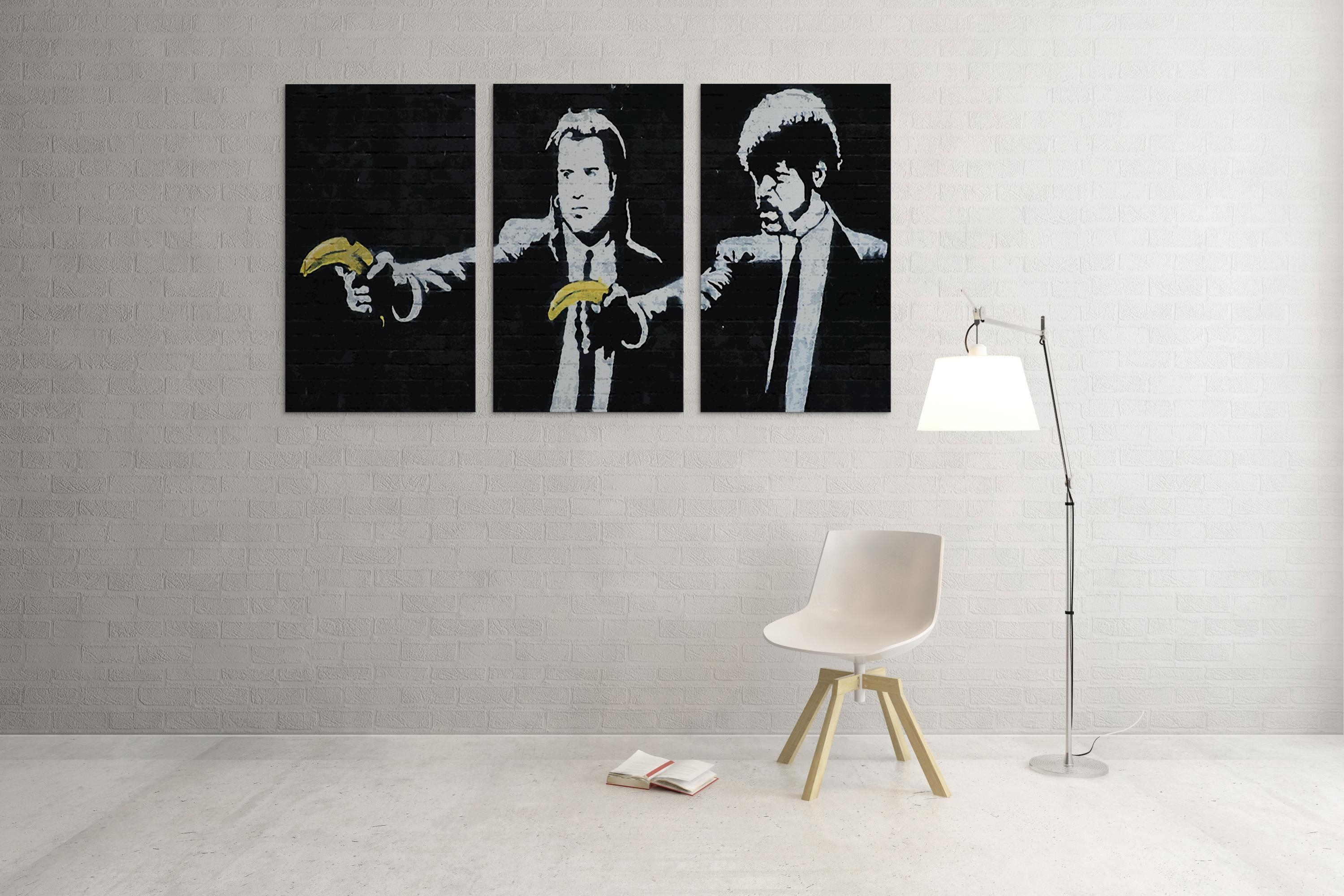 Banksy Pulp Fiction Bananas Triptych Canvas Wall Art In Banksy Wall Art Canvas (Image 10 of 20)