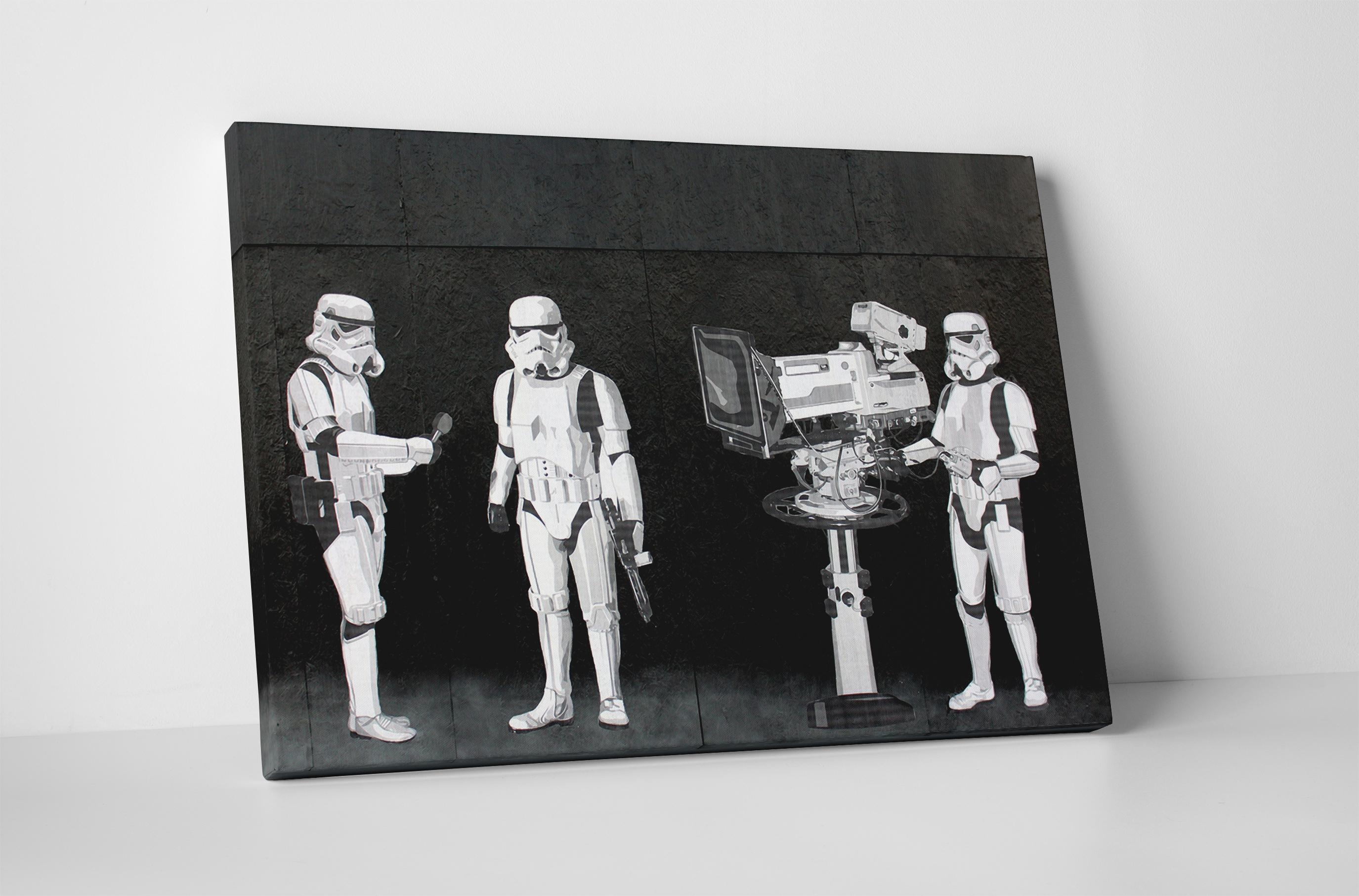 Banksy Stormtroopers Filming Oscars Canvas Wall Art Regarding Banksy Wall Art Canvas (Image 11 of 20)