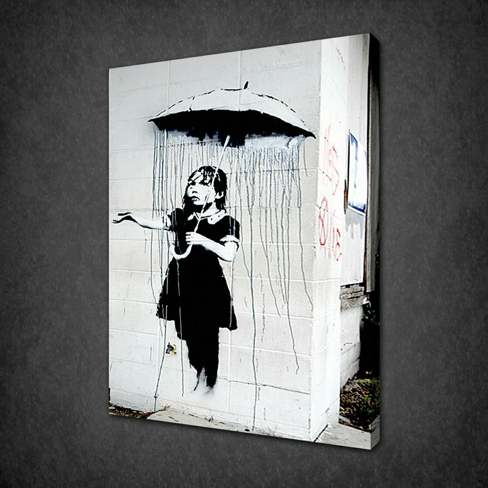 Banksy Umbrella Girl Canvas Wall Art Pictures Prints Variety Of Regarding Banksy Wall Art Canvas (View 14 of 20)