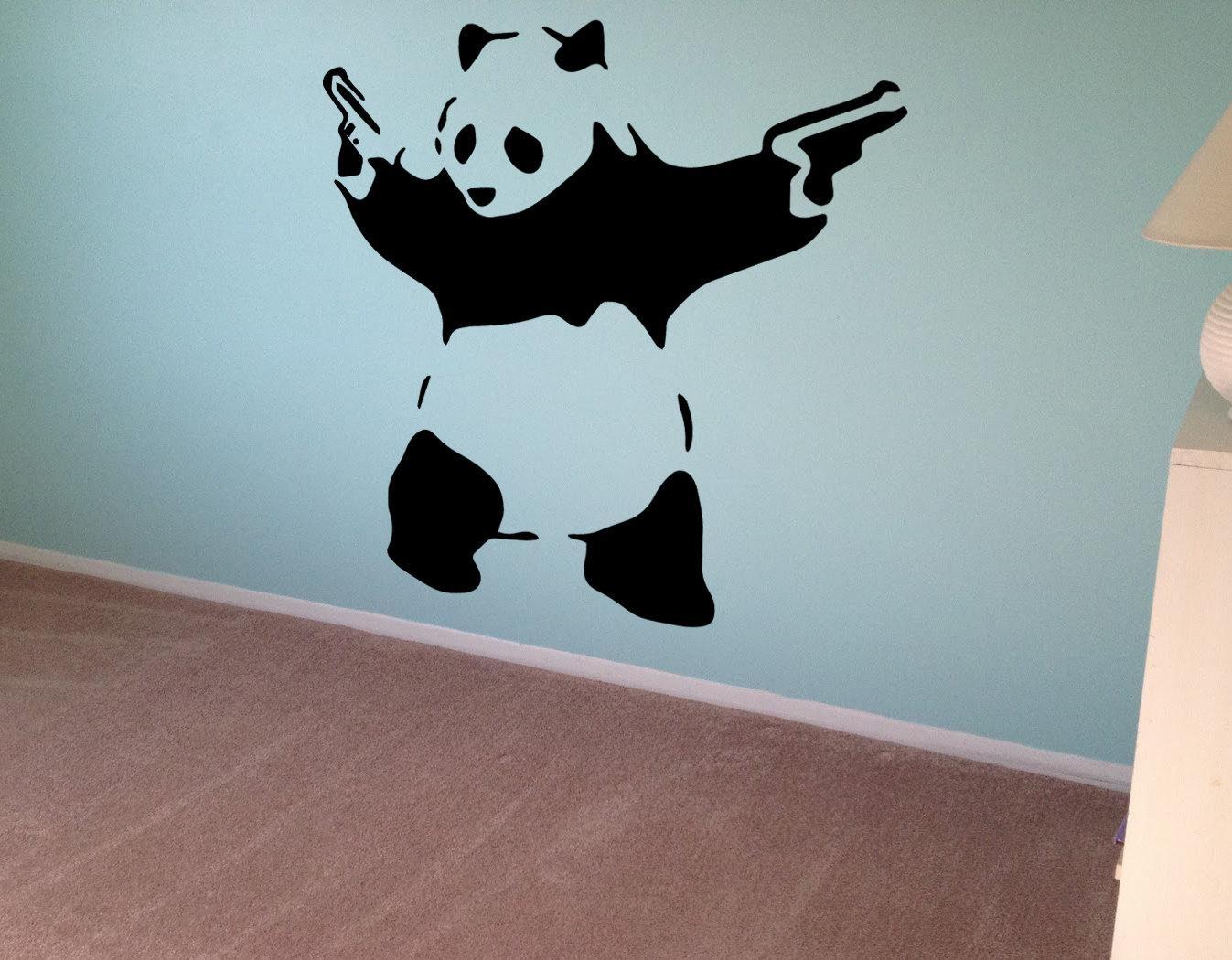Banksy Wall Decal Panda Guns Wall Art Wall Sticker Vinyl In Graffiti Wall Art Stickers (Image 3 of 20)
