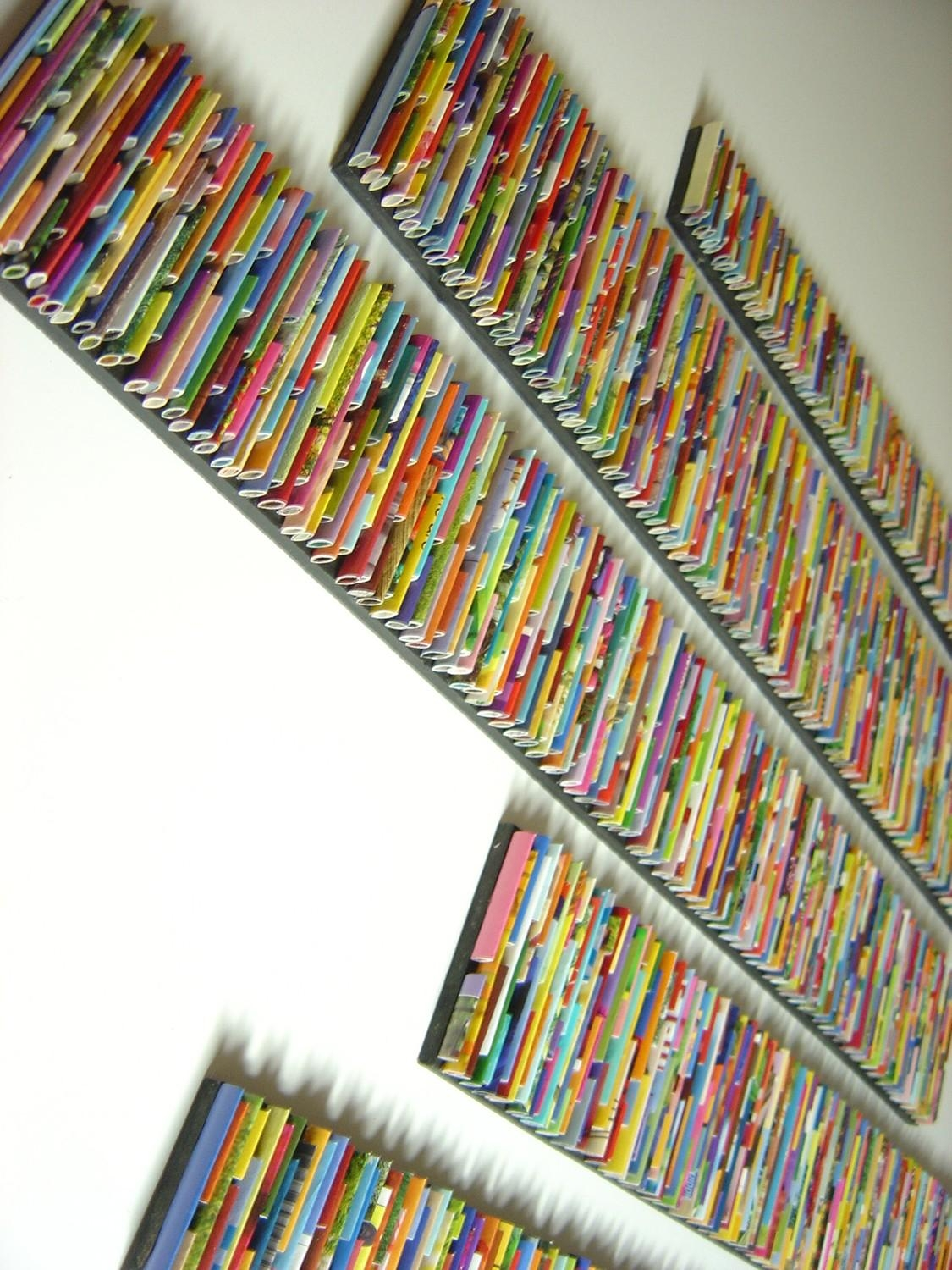 Barcode Wall Art Made From Recycled Magazines Colorful Art Pertaining To Recycled Wall Art (View 3 of 20)