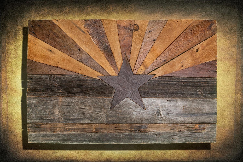 Barn Wood Arizona Flag, Handmade, Distressed Natural Wood, Vintage Pertaining To Natural Wood Wall Art (Image 3 of 20)