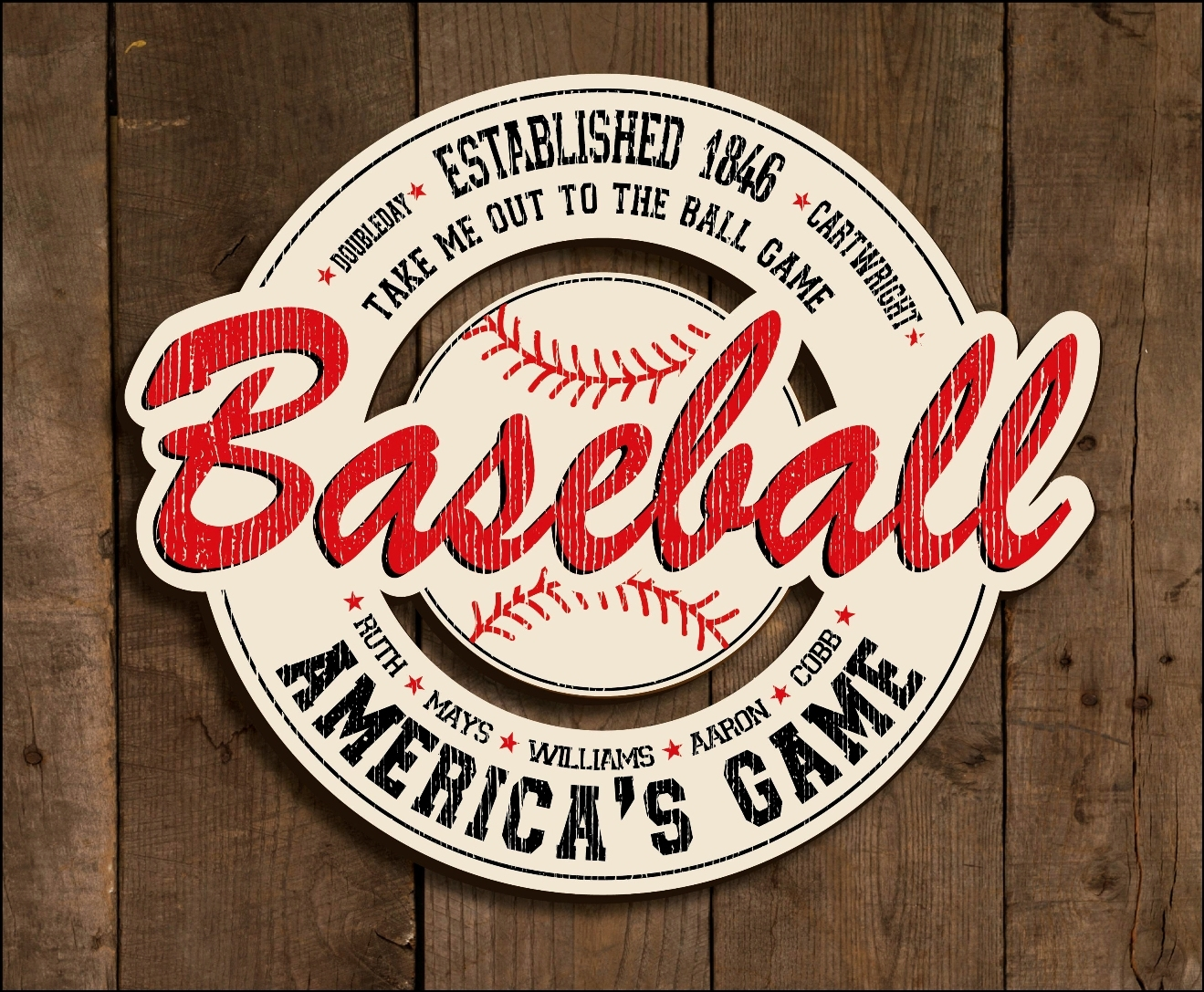Baseball Signs Wall Decor Display Cabinets Art Inside Vintage Baseball Wall Art (Image 7 of 20)