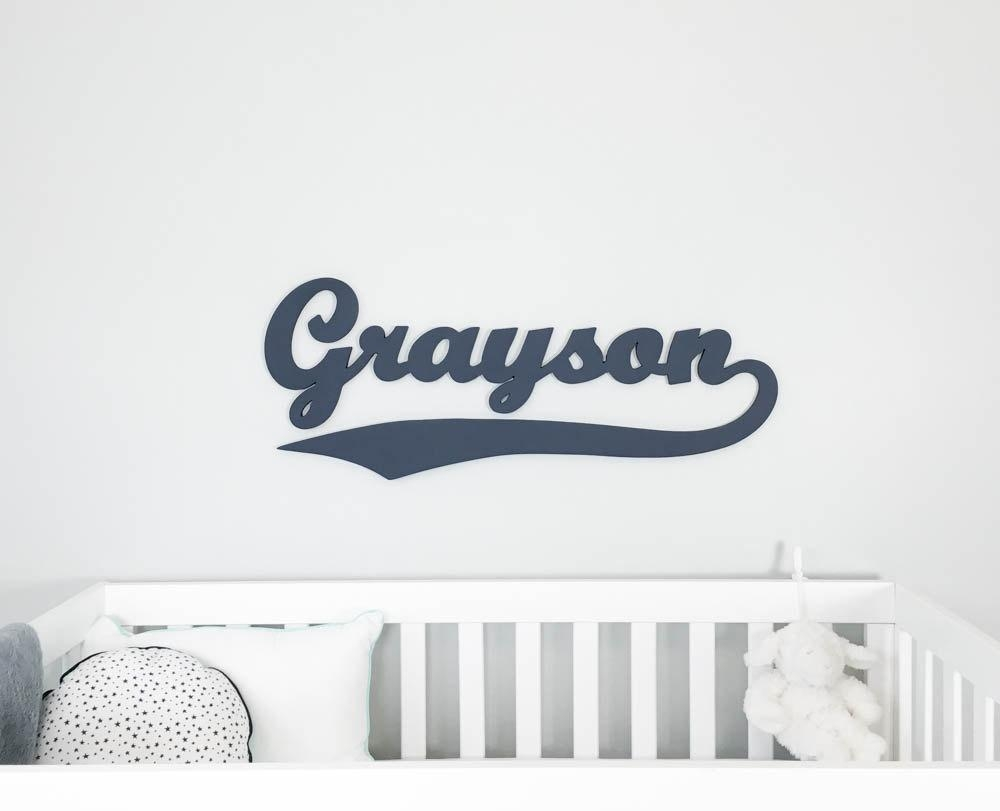 Baseball Style Wooden Name Sign Name Plaque Large Painted Intended For Personalized Nursery Wall Art (Image 2 of 20)
