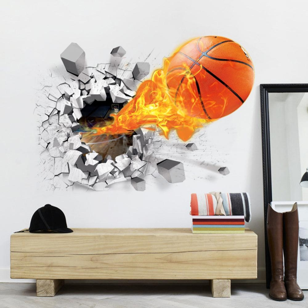 Basketball Wall Stickers Promotion Shop For Promotional Basketball With Nba Wall Murals (View 4 of 20)