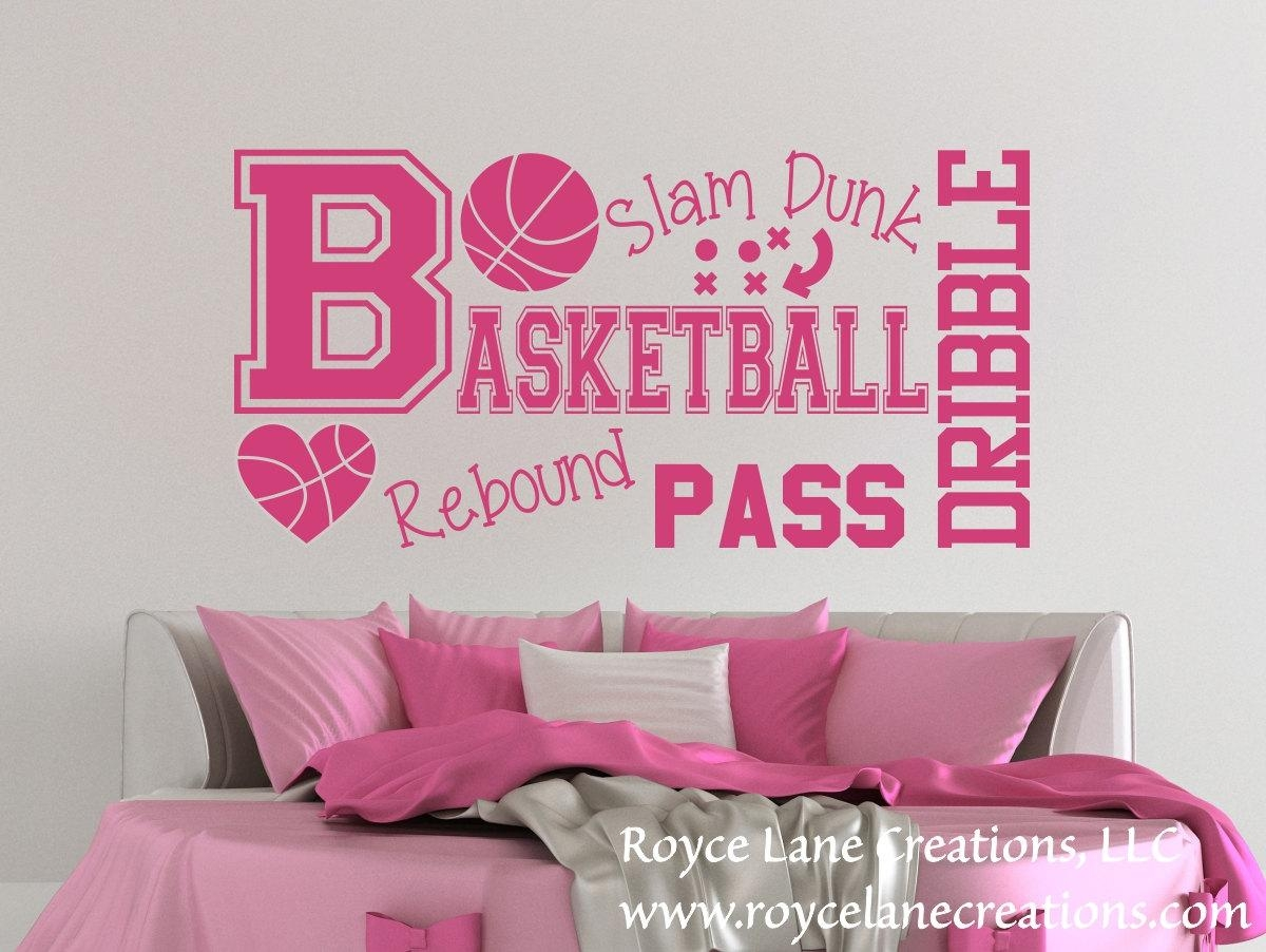 Basketball Word Art Wall Decal B31 Sports Vinyl Wall Decal With Regard To Wall Art For Girls (Image 4 of 20)