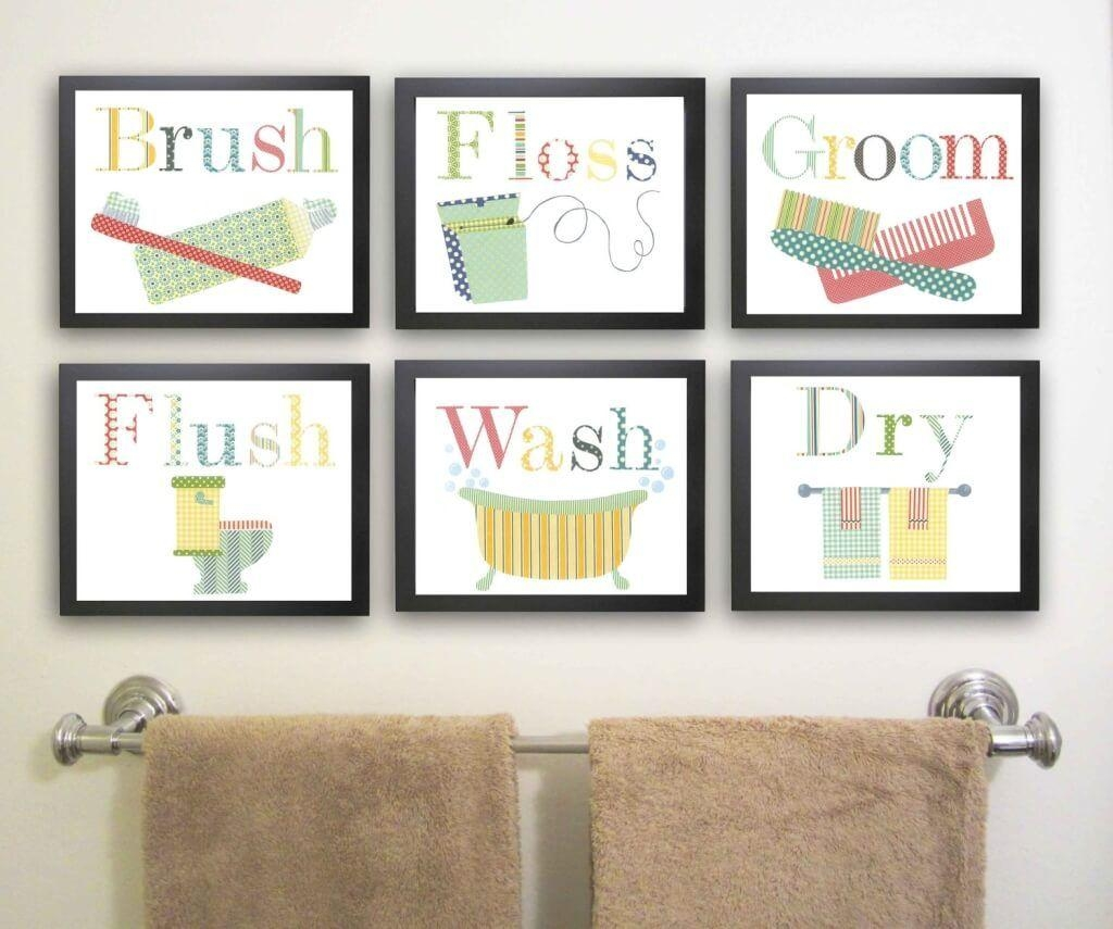 Bathroom: Attractive Kids Bathroom Sets Ideas Featuring Fish Wall Intended For Kids Bathroom Wall Art (View 7 of 20)