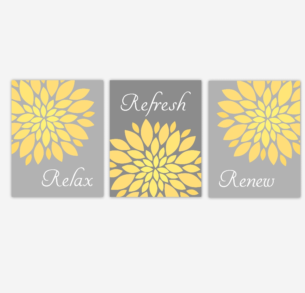 Bathroom Canvas Wall Art Yellow Gray Grey Relax Refresh Renew Intended For Yellow And Grey Wall Art (View 15 of 20)
