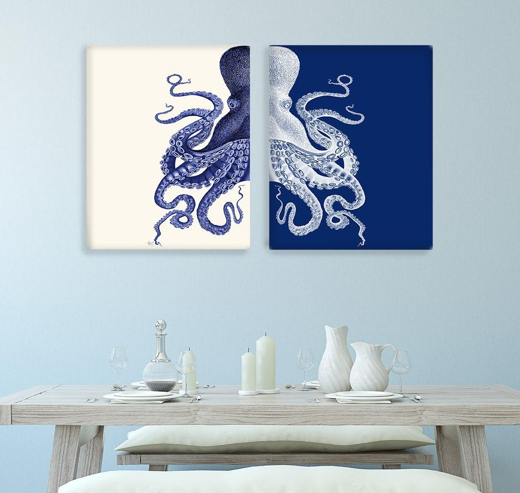 Bathroom Decor 2 Octopus Prints Navy Blue /cream Nautical Within Blue And Cream Wall Art (Image 3 of 20)