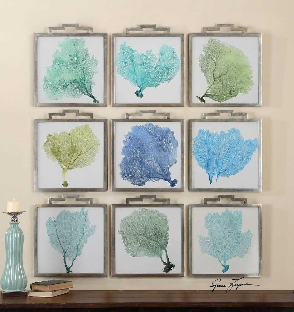 Bathroom Decorative Sea Fan, Sea Fans Framed Wall Art Pertaining To Sea Fan Wall Art (Image 2 of 20)