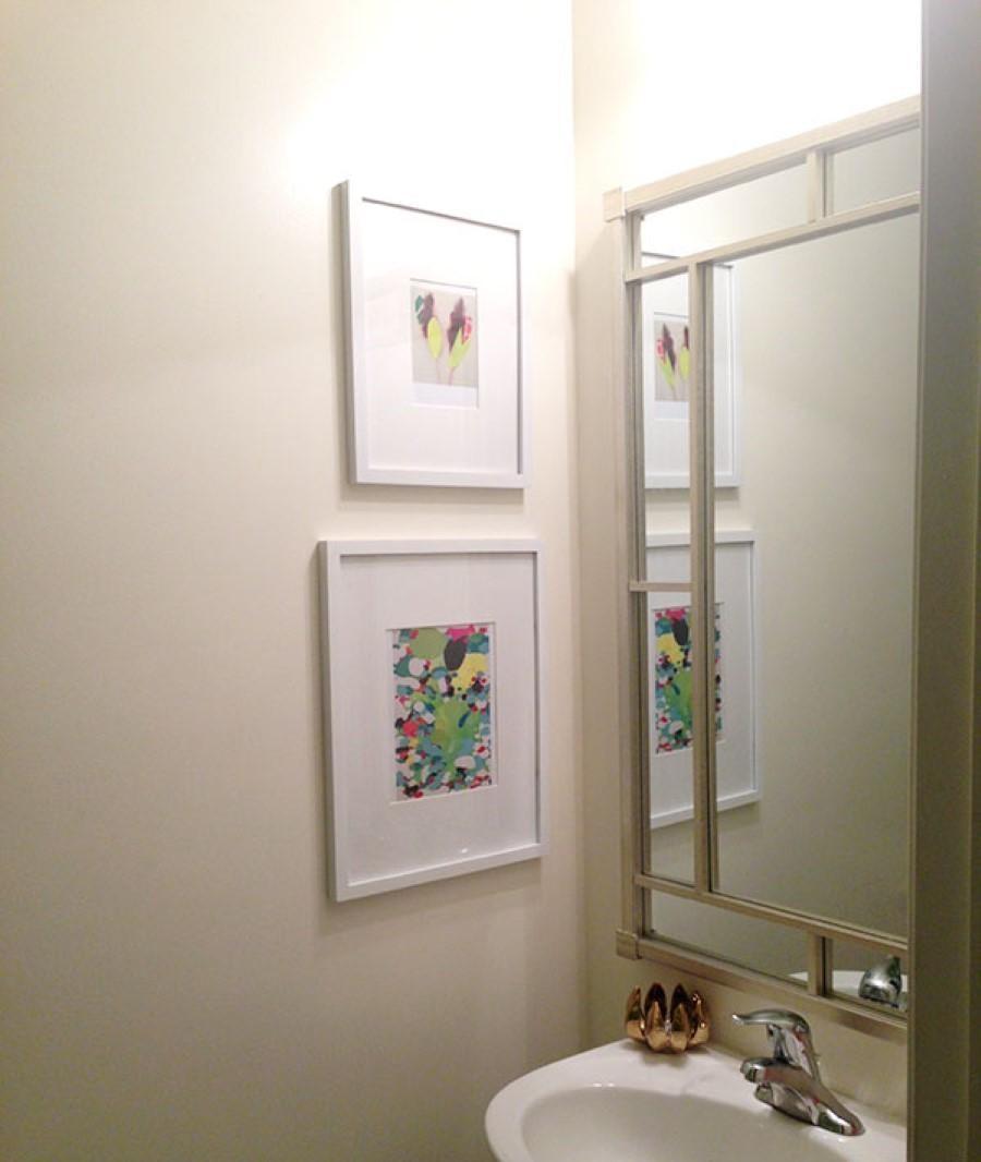 Bathroom Ideas: Black Framed Bathroom Wall Art Above Built In Inside Contemporary Bathroom Wall Art (Image 3 of 20)