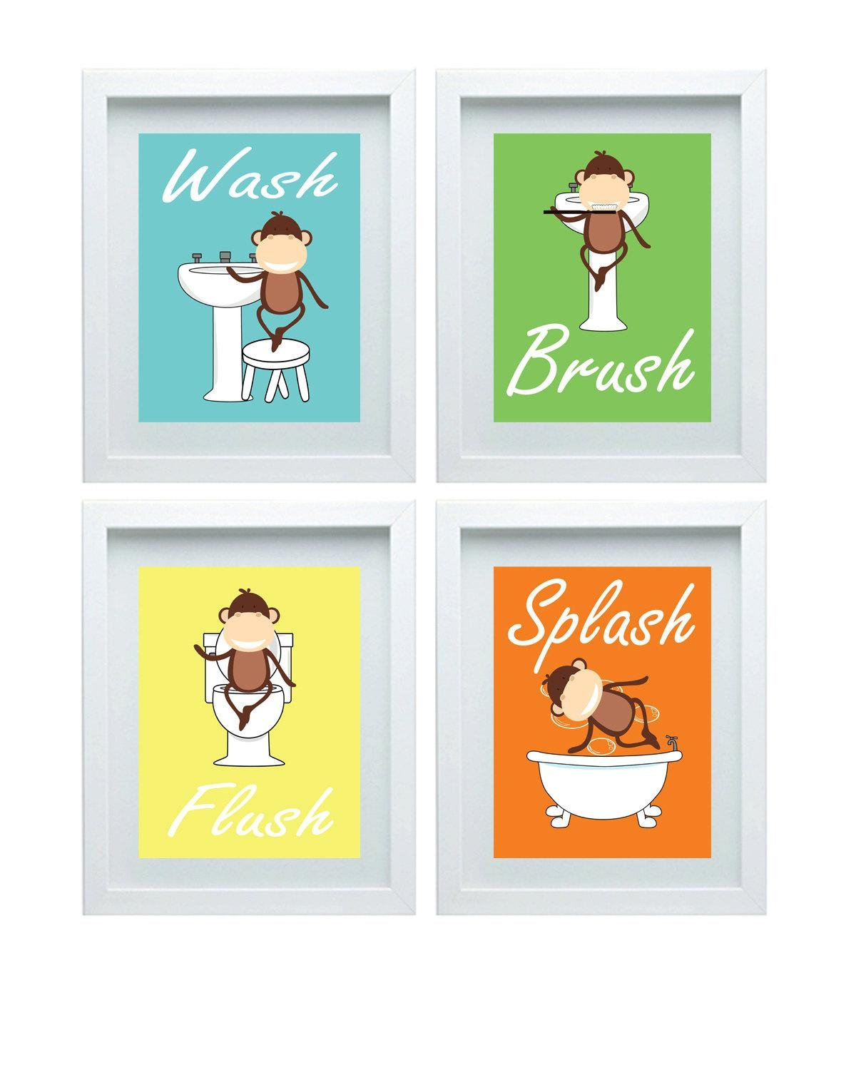 Bathroom Rules Kids Bathroom Art Kids Bathroom Decor Monkey For Kids Bathroom Wall Art (View 5 of 20)