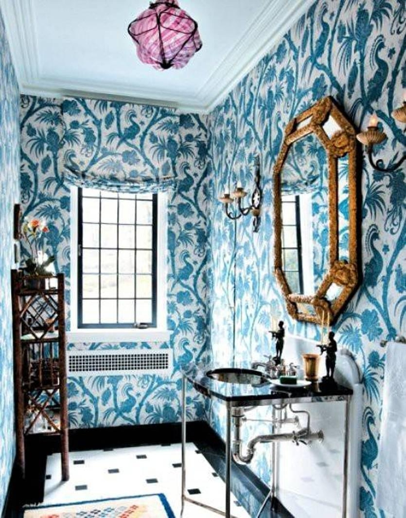 Bathroom Wall Art Blue Wallpaper With Matching Window Blind And Inside Matching Wall Art (Image 2 of 20)