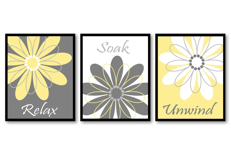 Bathroom Wall Art Yellow Grey Gray White Daisy Flower Print Regarding Yellow Grey Wall Art (Image 3 of 20)