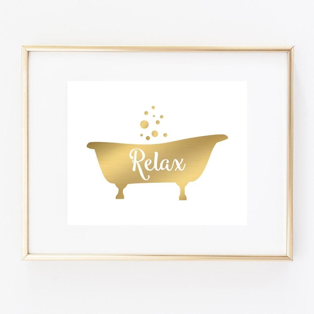 Bathtub Art Print Bathroom Wall Decor Relax Art Faux Gold With Bath Wall Art (View 14 of 20)