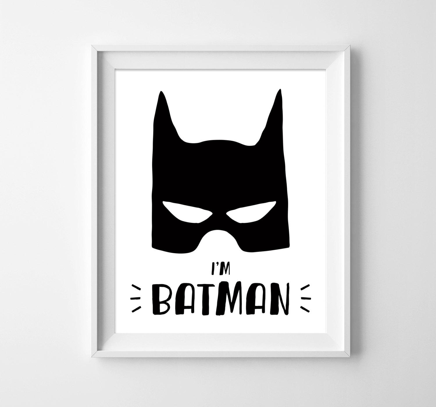 Batman Illustration. Nursery Art. Wall Print. Kids Room Decor (View 12 of 20)