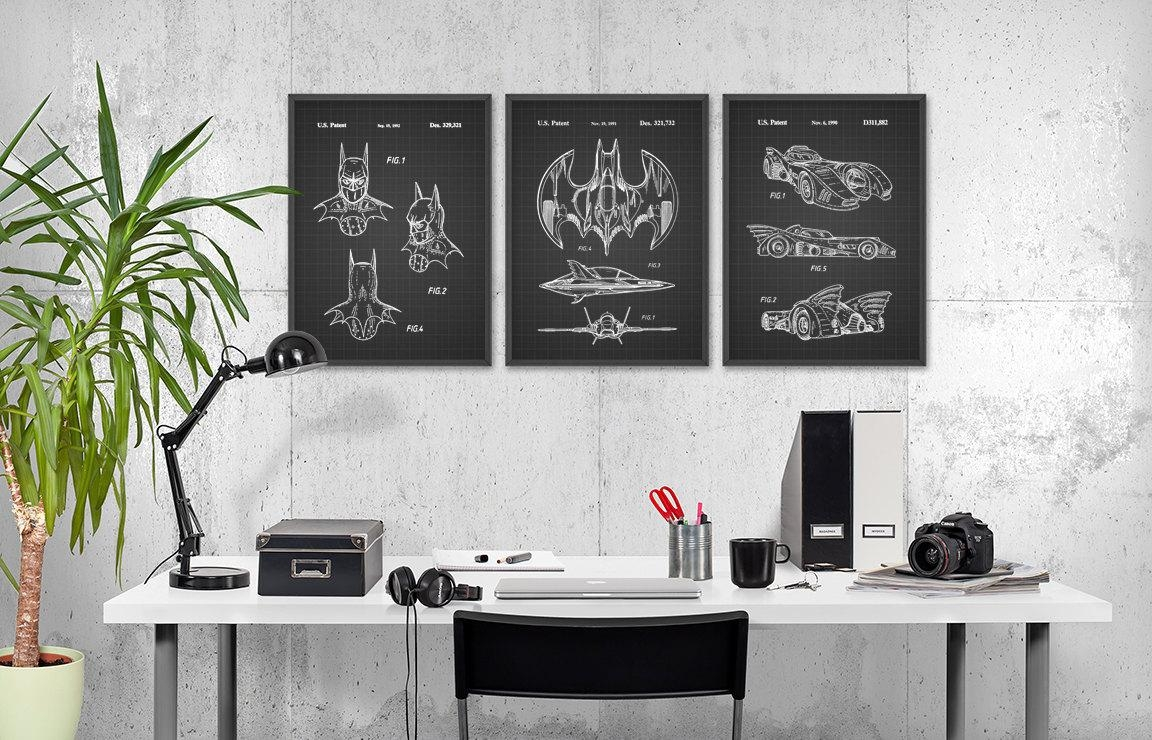 Batman Patent Print Wall Art Poster Set Of 3 Comic Book Intended For Computer Wall Art (Image 9 of 20)