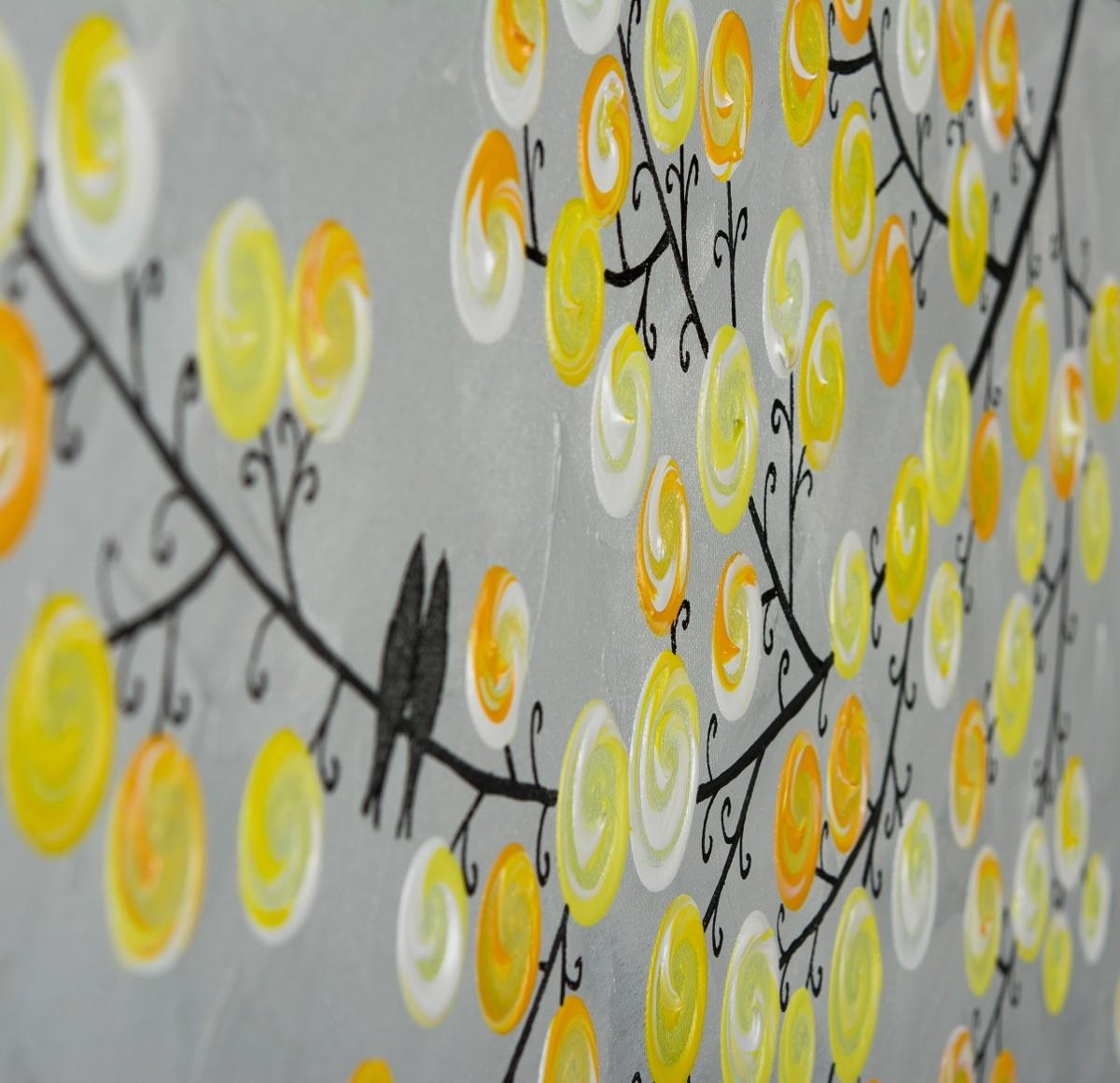 "Be My Valentineqiqigallery 36"" X 12"" Abstract Painting Throughout Yellow And Gray Wall Art (Image 2 of 20)"