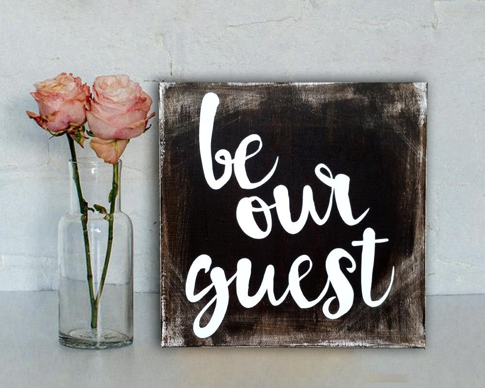 Be Our Guest Sign Rustic Sign Rustic Home Decor Disney Within Disney Canvas Wall Art (View 14 of 20)
