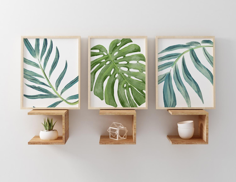 Beach Art Prints Watercolor Beach Nursery Art Tropical Palm With Regard To Palm Leaf Wall Art (View 2 of 20)
