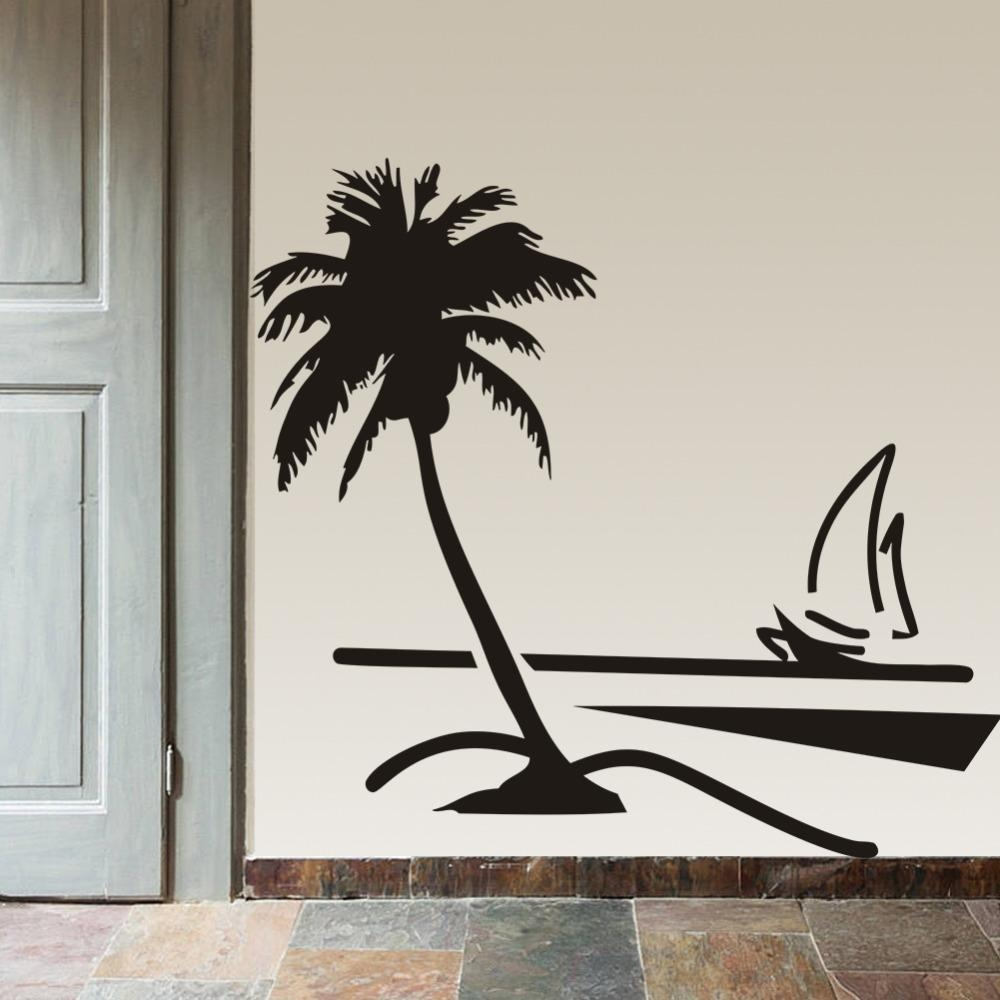 Beach Coconut Palm Tree Sailboat Wall Art Bathroom Glass Modern Inside Vinyl Wall Art Tree (Image 2 of 20)