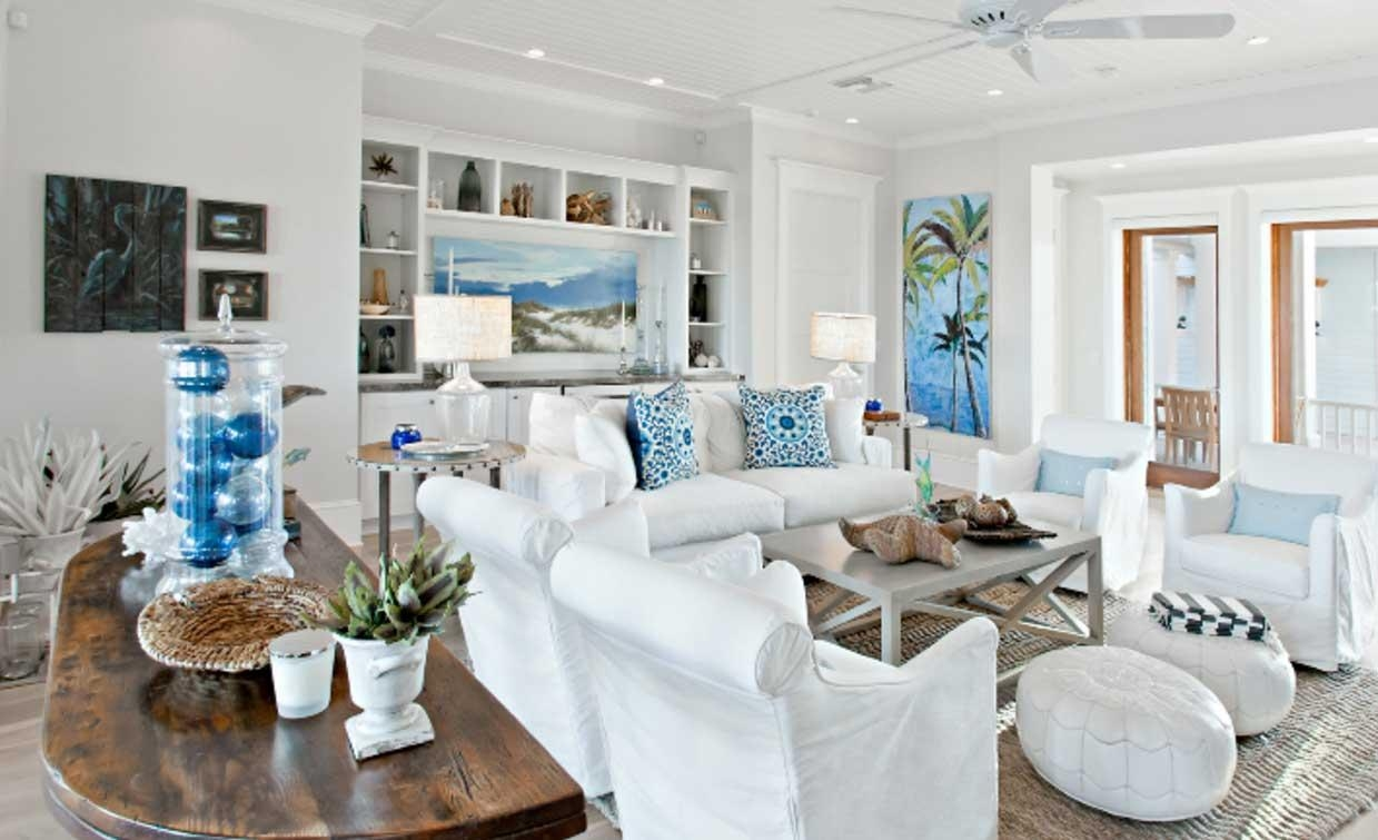 Beach House Wall Decor With White Wall Paint Color | Home Interior In Beach Cottage Wall Decors (Image 3 of 20)