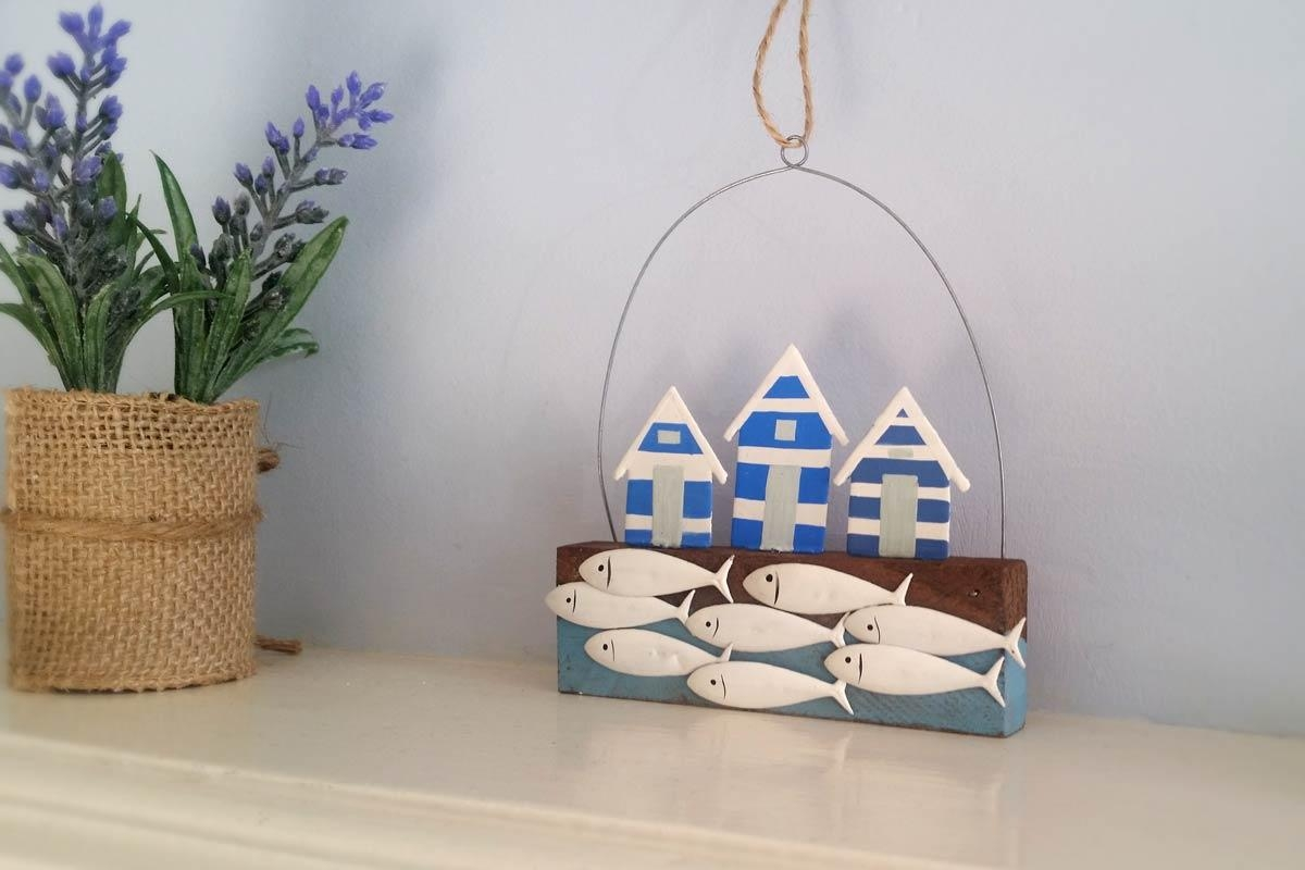 Beach Hut And Fish Shoal Wall Hanger | Sea Themed Homeware Intended For Fish Shoal Wall Art (View 12 of 20)