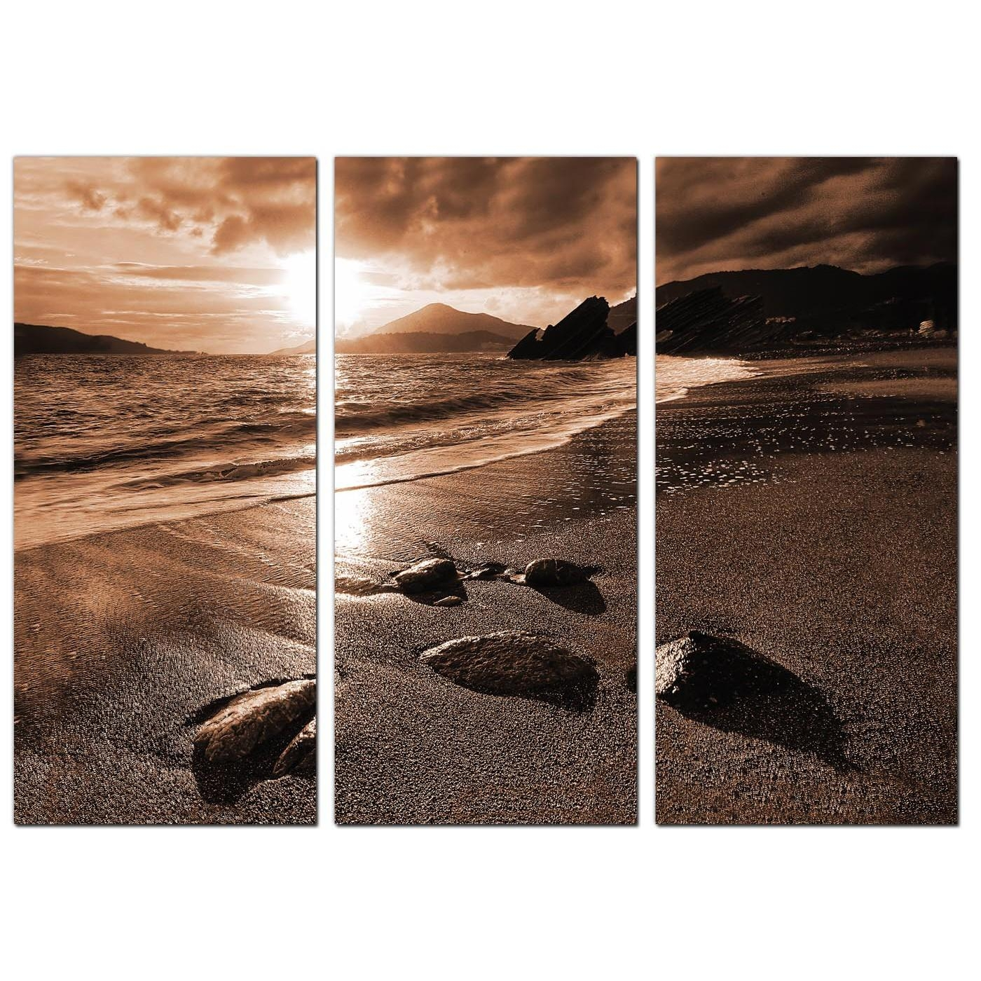 Beach Sunset Canvas Art Set Of 3 For Your Hallway With 3 Set Canvas Wall Art (Image 13 of 20)