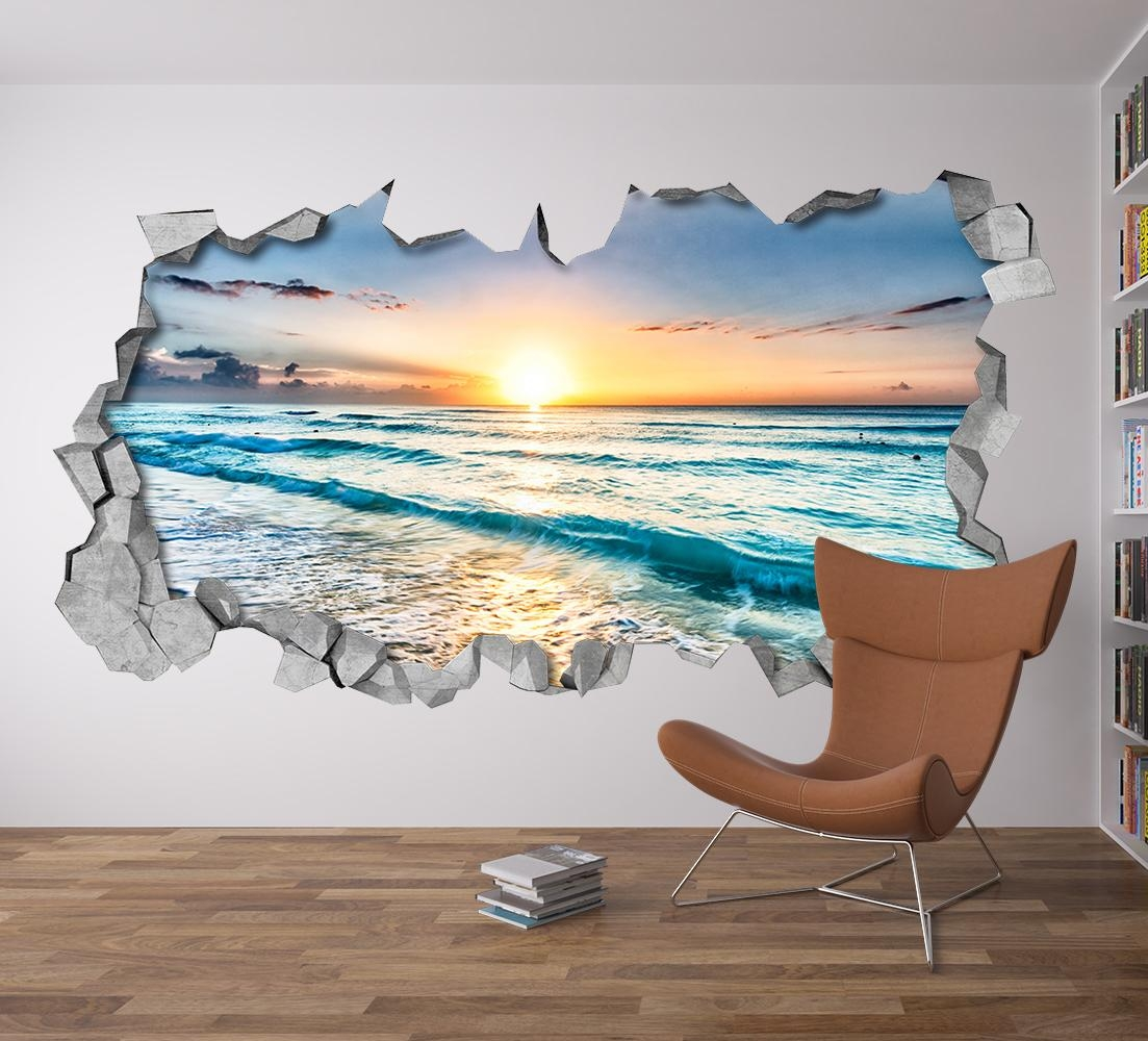 Beach View 3D Wall Art – Moonwallstickers Regarding Beach Wall Art (Image 5 of 20)