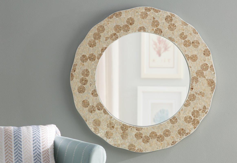 Beachcrest Home Capiz Shell Wall Mirror & Reviews   Wayfair Inside Capiz Shell Wall Art (Image 6 of 20)
