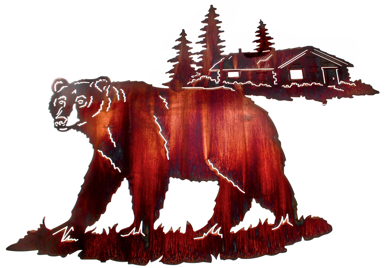 Bear Wall Art, Bear Wall Hangings, Metal Wall Sculptures With Lazart Metal Wall Art (Image 4 of 20)