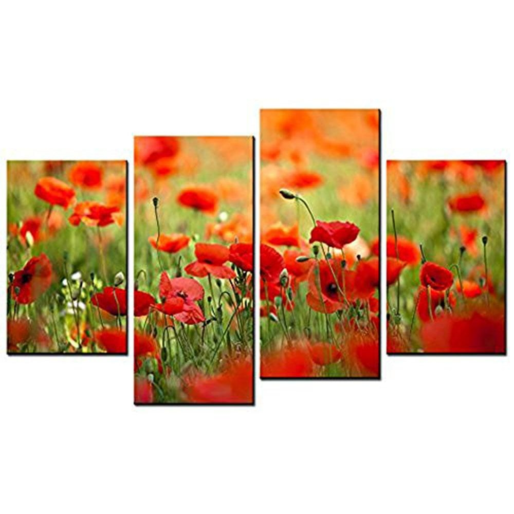 Beautiful Red Poppies Metal Wall Art Removable Wall Murals With Metal Poppy Wall Art (View 15 of 20)