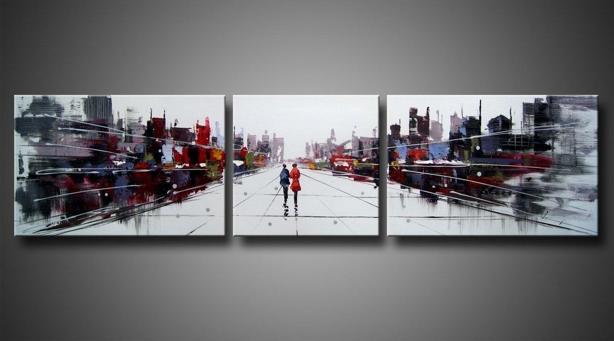 Beauty City Street Landscape Oil Painting Wall Art With Stretched Inside Oil Painting Wall Art On Canvas (View 6 of 20)