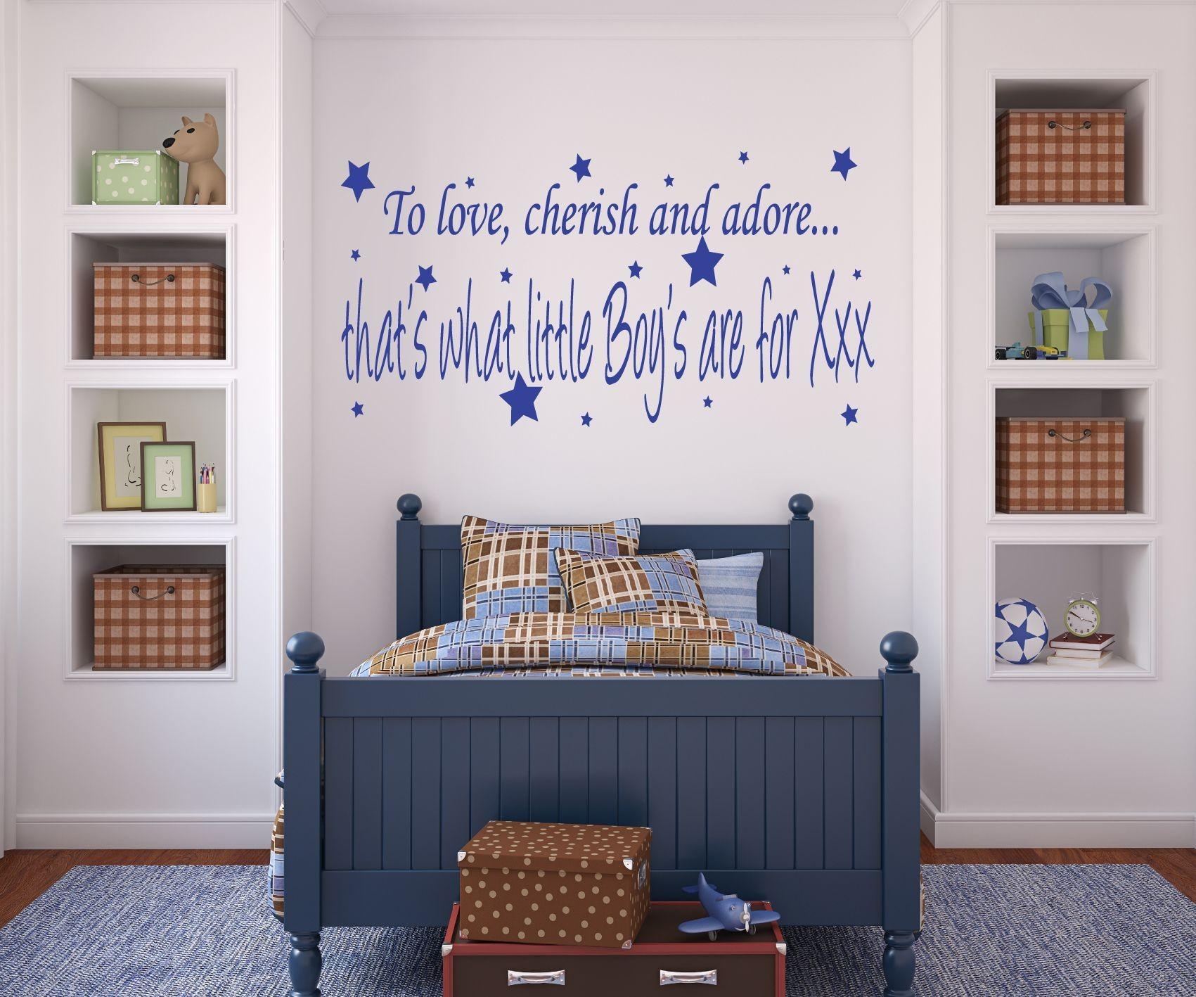 Bedroom: Artistic Navy Blue Wall Quote Sticker In Bedroom Art With Regard To Navy Blue Wall Art (View 15 of 20)