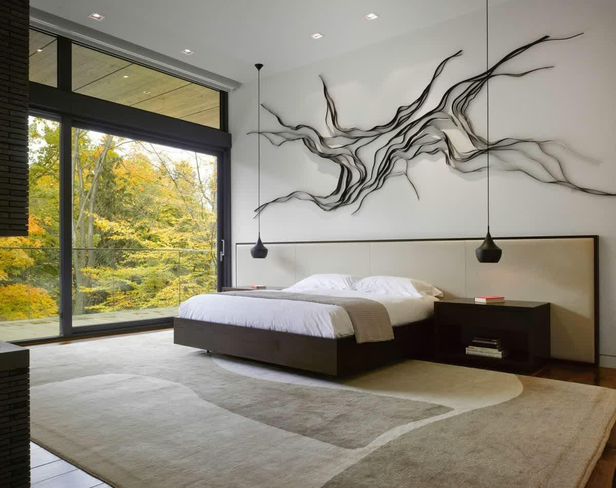 Bedroom: Bedroom With Gray Palette And Double Framed Floral With Regard To Bed Wall Art (Image 9 of 20)
