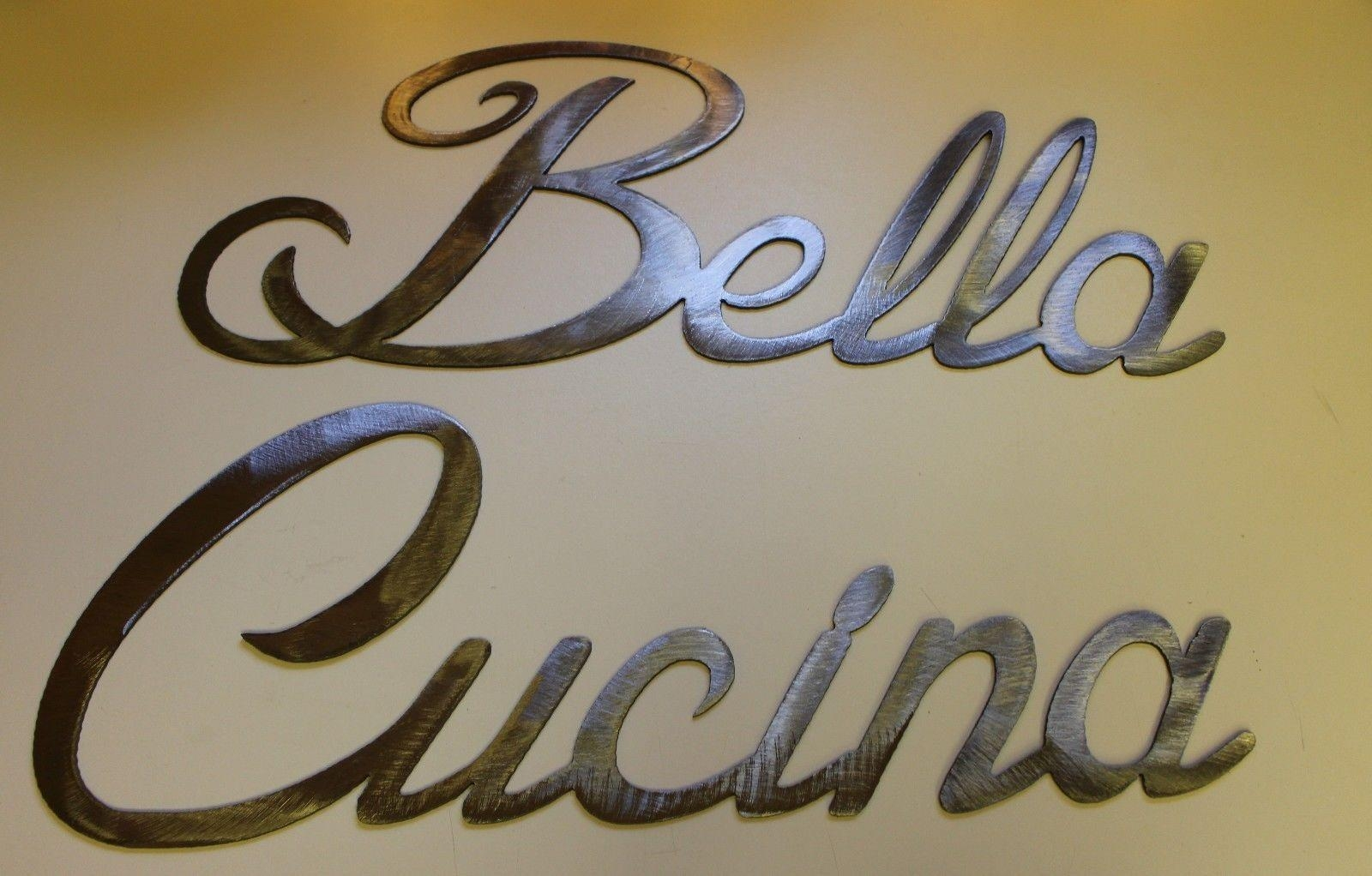 Bella Cucina Words Large Set Metal Wall Art Accents Silver Words With Regard To Cucina Wall Art (View 15 of 20)