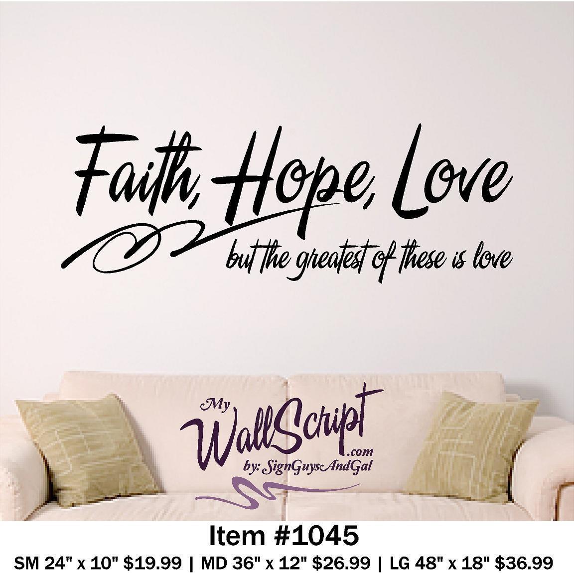 Bible Verse Wall Art Faith Hope Love Wall Decal Regarding Bible Verses Wall Art (View 8 of 20)