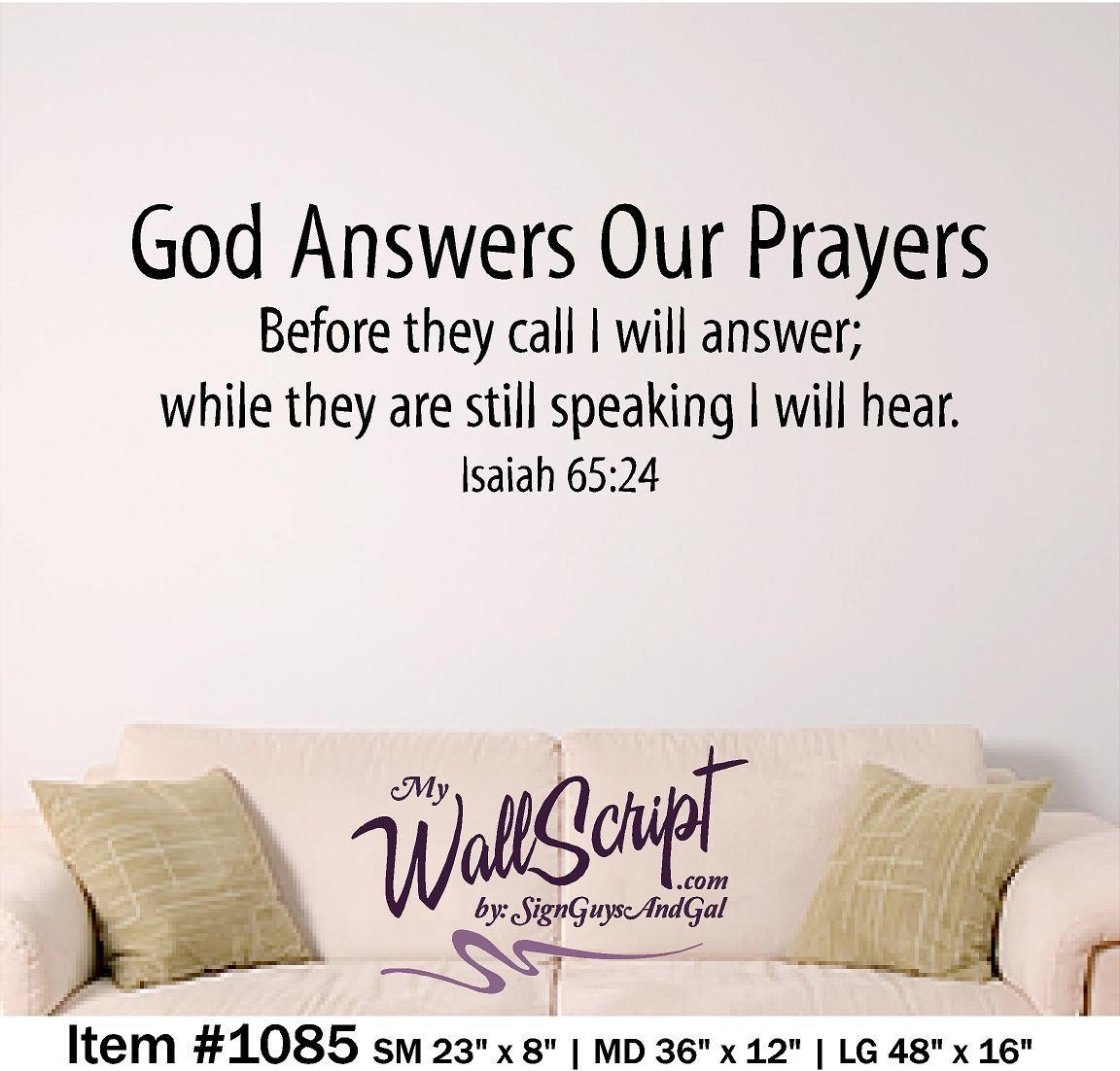 Bible Verse Wall Art God Answers Our Prayers Wall Graphic Pertaining To Bible Verses Wall Art (Image 7 of 20)