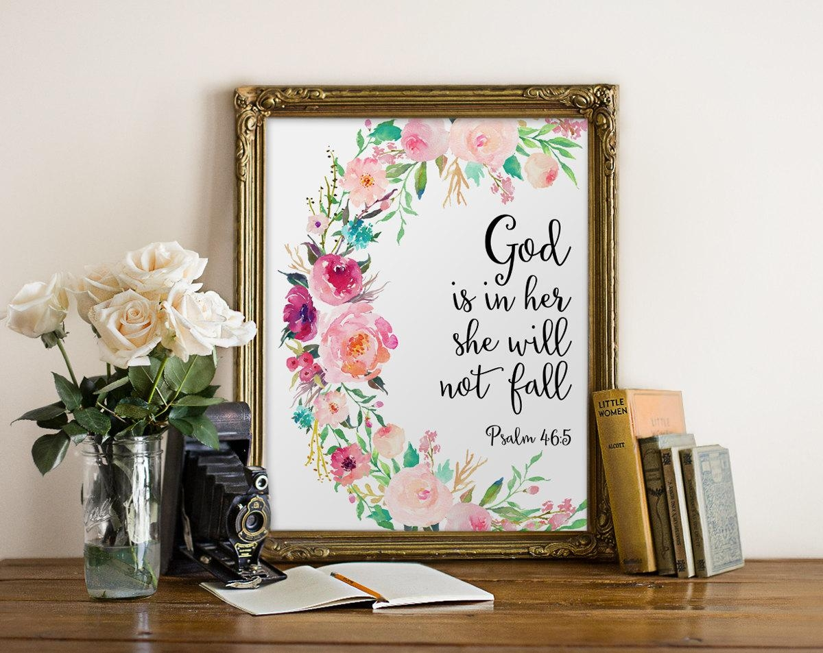 Bible Verse Wall Art God Is In Her She Will Not Fall Nursery Pertaining To Nursery Bible Verses Wall Decals (Image 7 of 20)