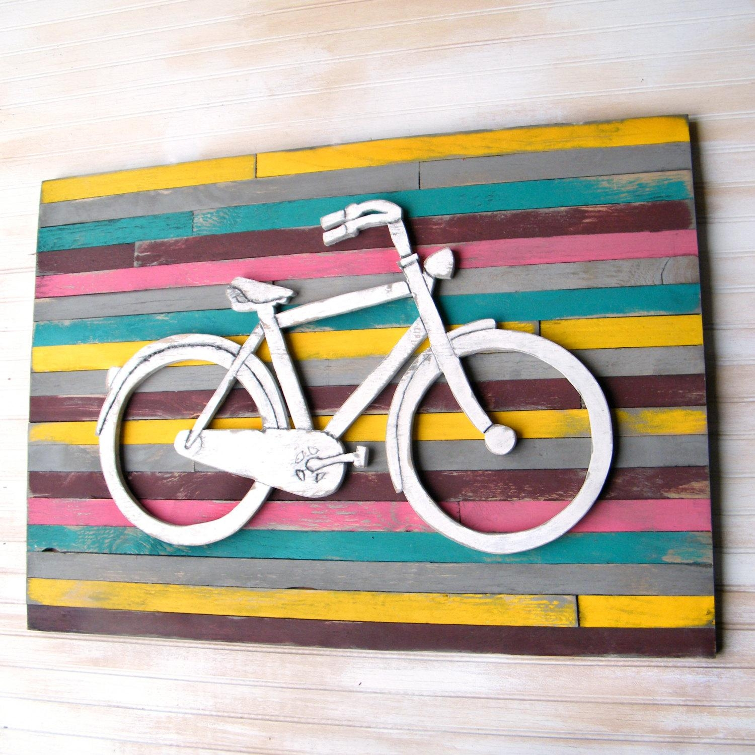 Bicycle Art Pallet Background Large Bicycle Wall Decor Wooden With Bicycle Wall Art Decor (View 7 of 20)